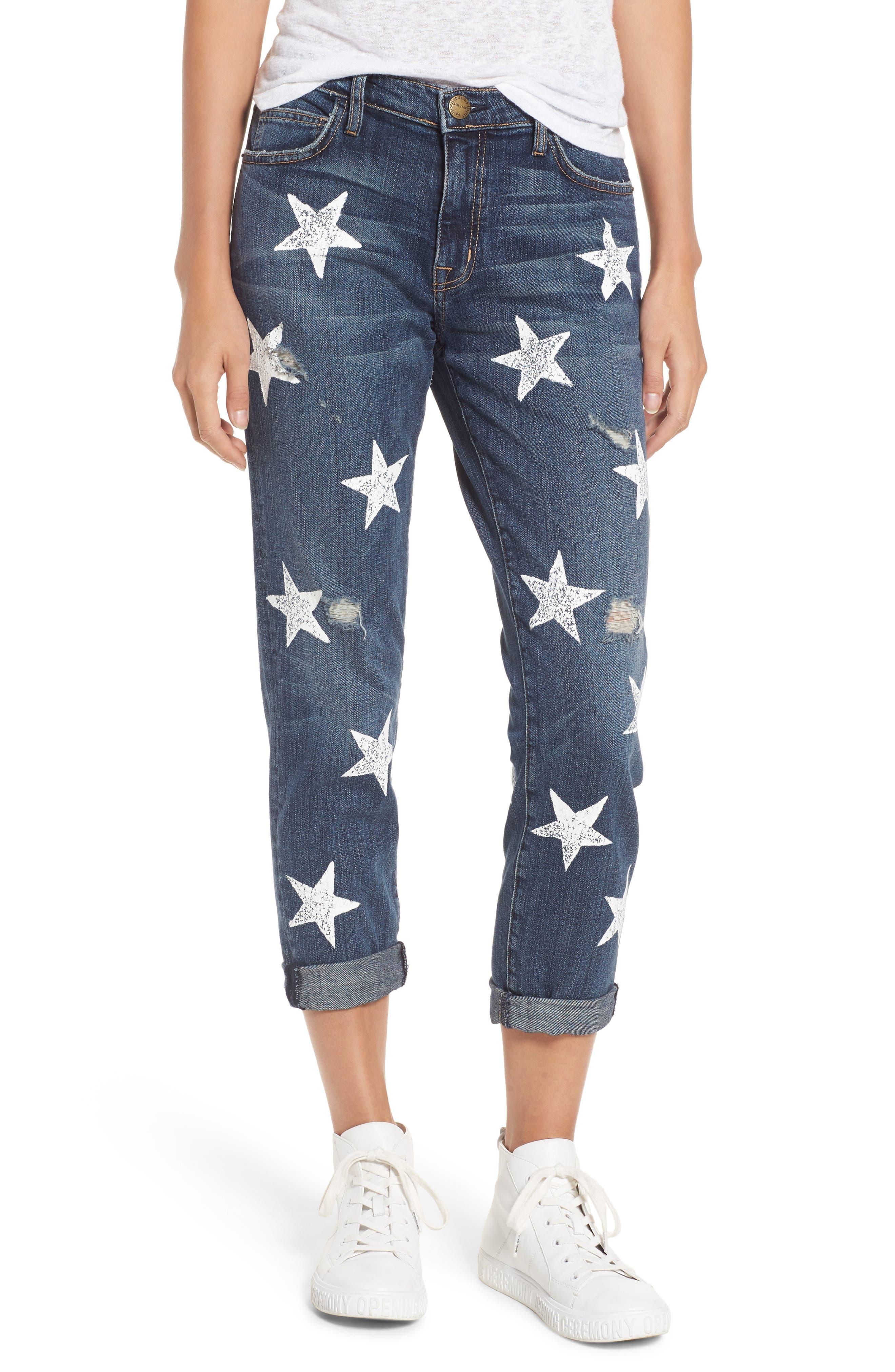 The Fling High Waist Boyfriend Jeans,                         Main,                         color, Loved Destroy/ White Stars