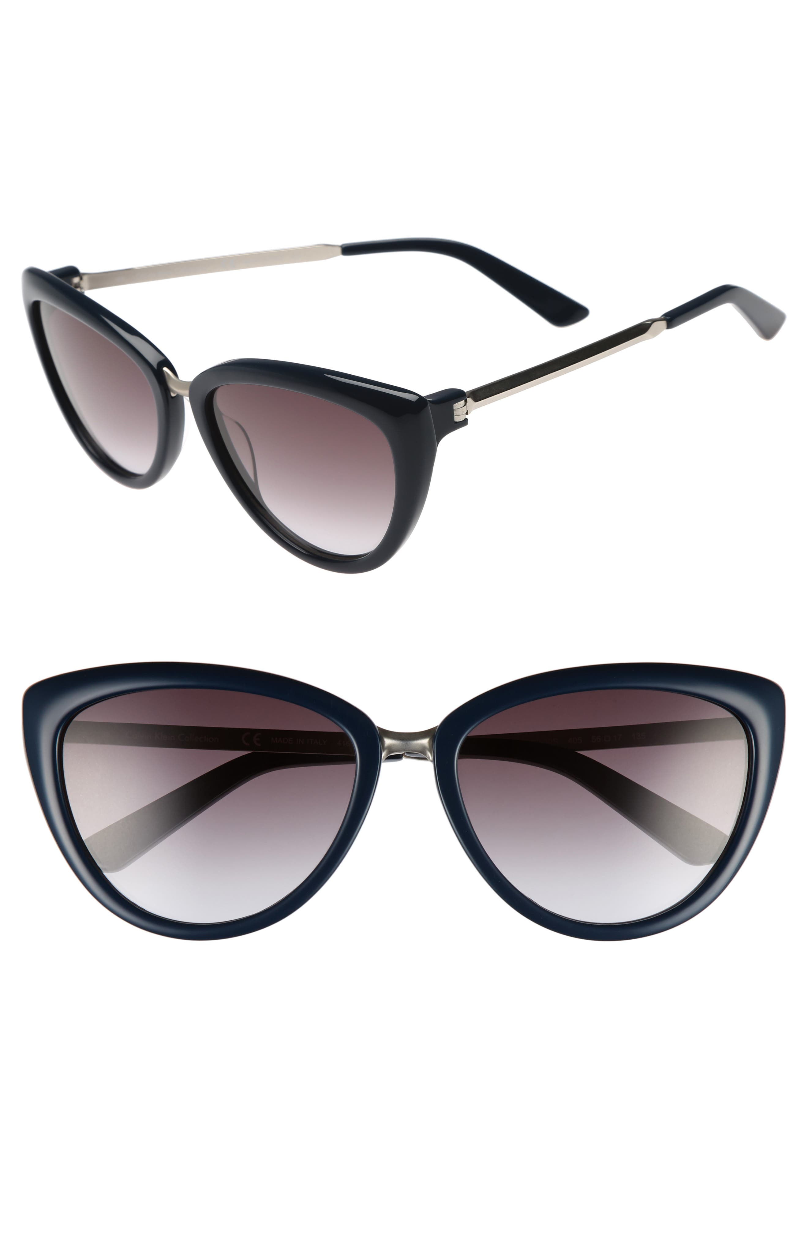 56mm Cat Eye Sunglasses,                         Main,                         color, Navy
