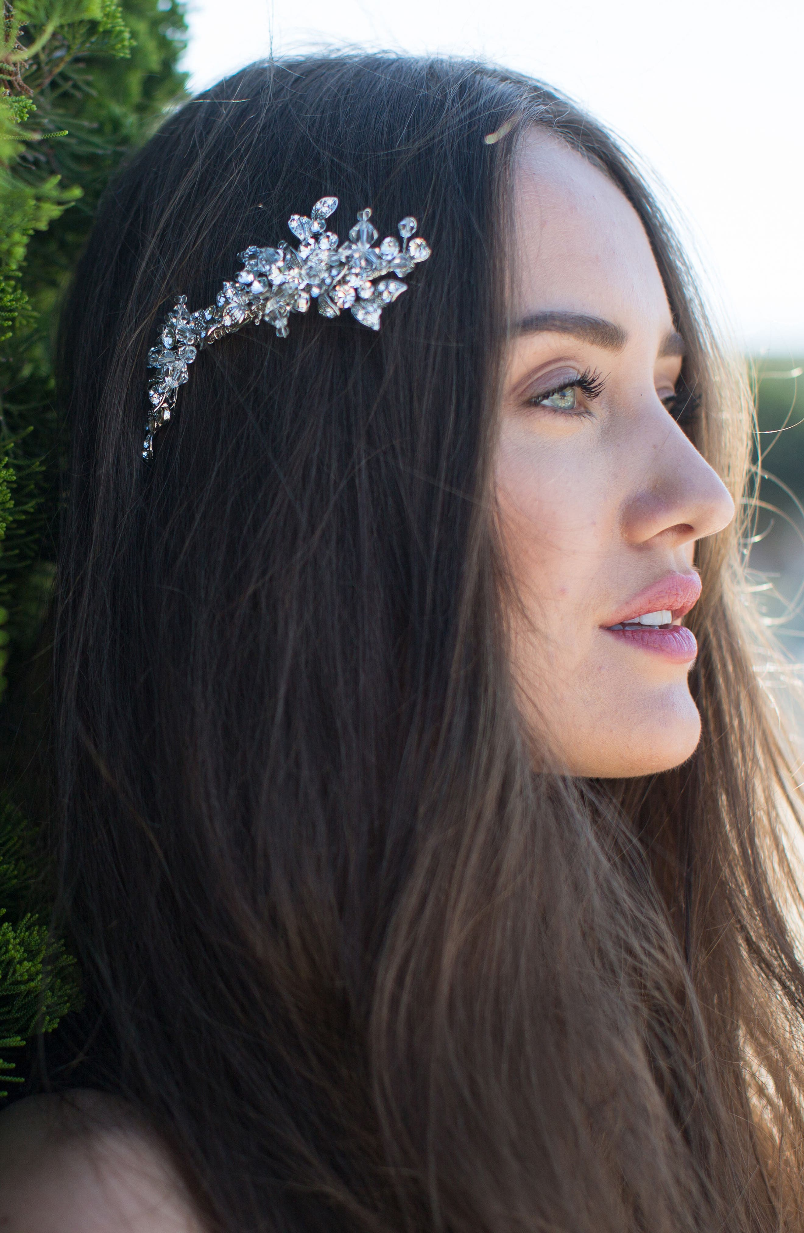 Olivia Jeweled Hair Clip,                         Main,                         color, Classic Silver