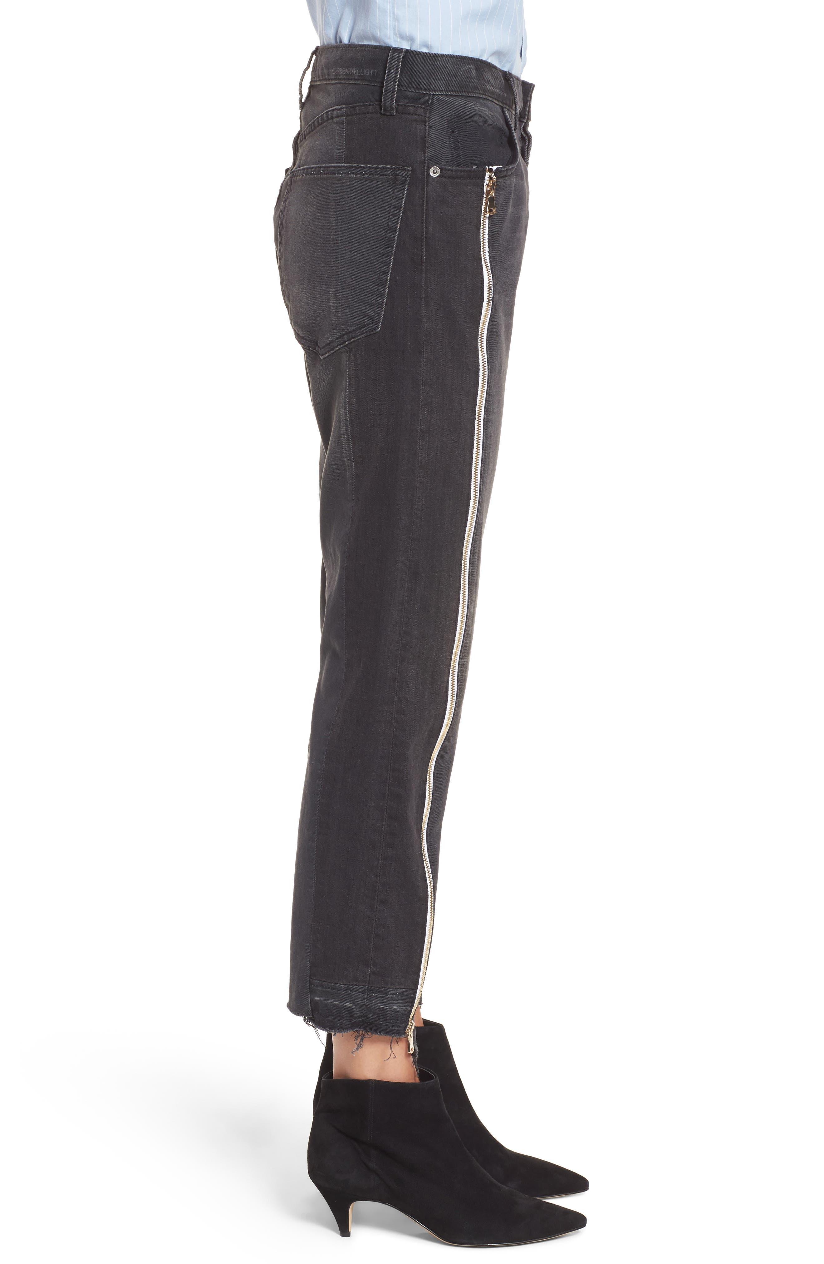 Alternate Image 3  - Current/Elliott The Dallon Zip High Waist Crop Straight Jeans (Highline)