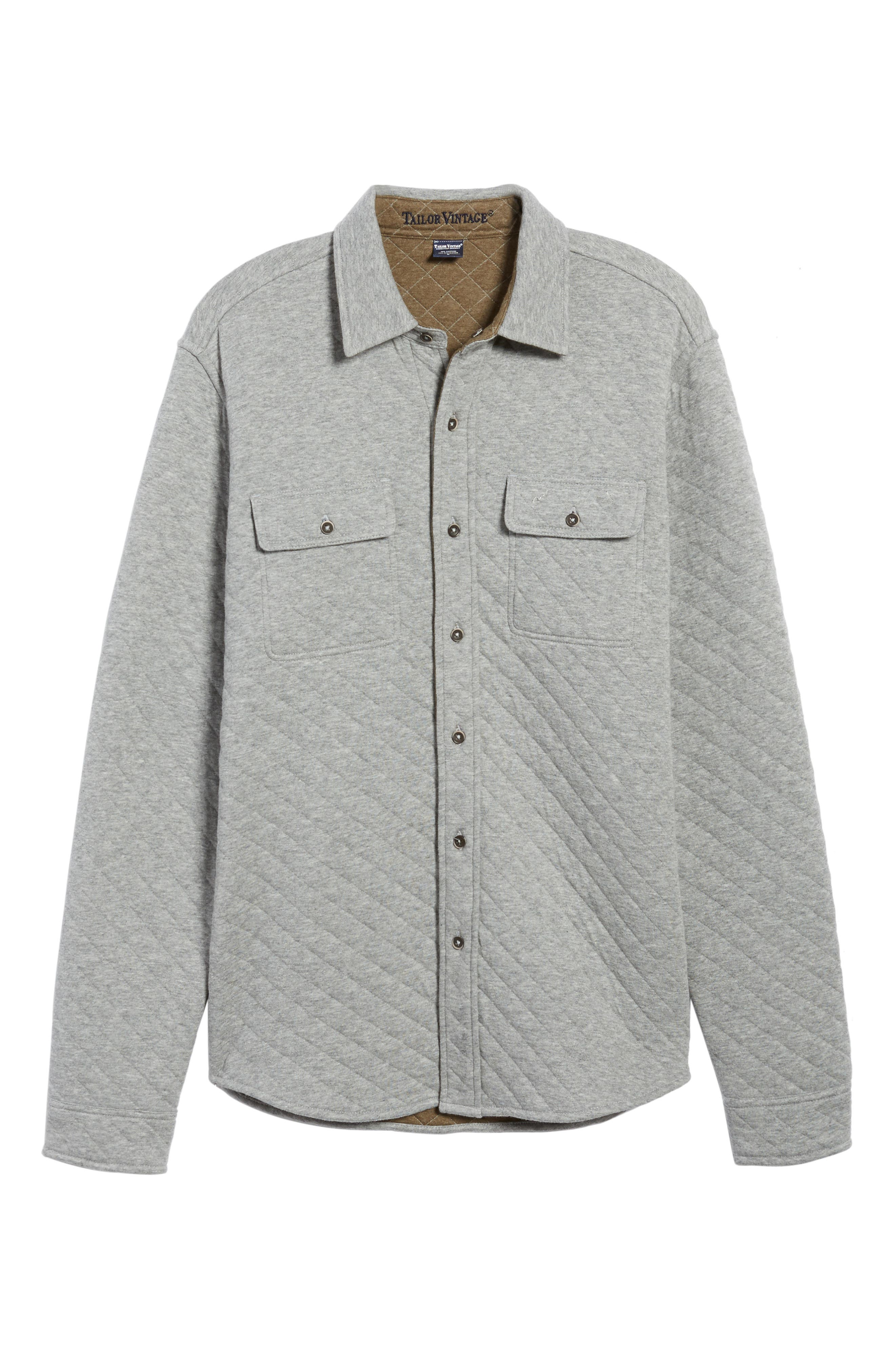 Reversible Double-Face Quilted Shirt,                             Alternate thumbnail 6, color,                             Med Grey Htr/ Army Htr Quilted