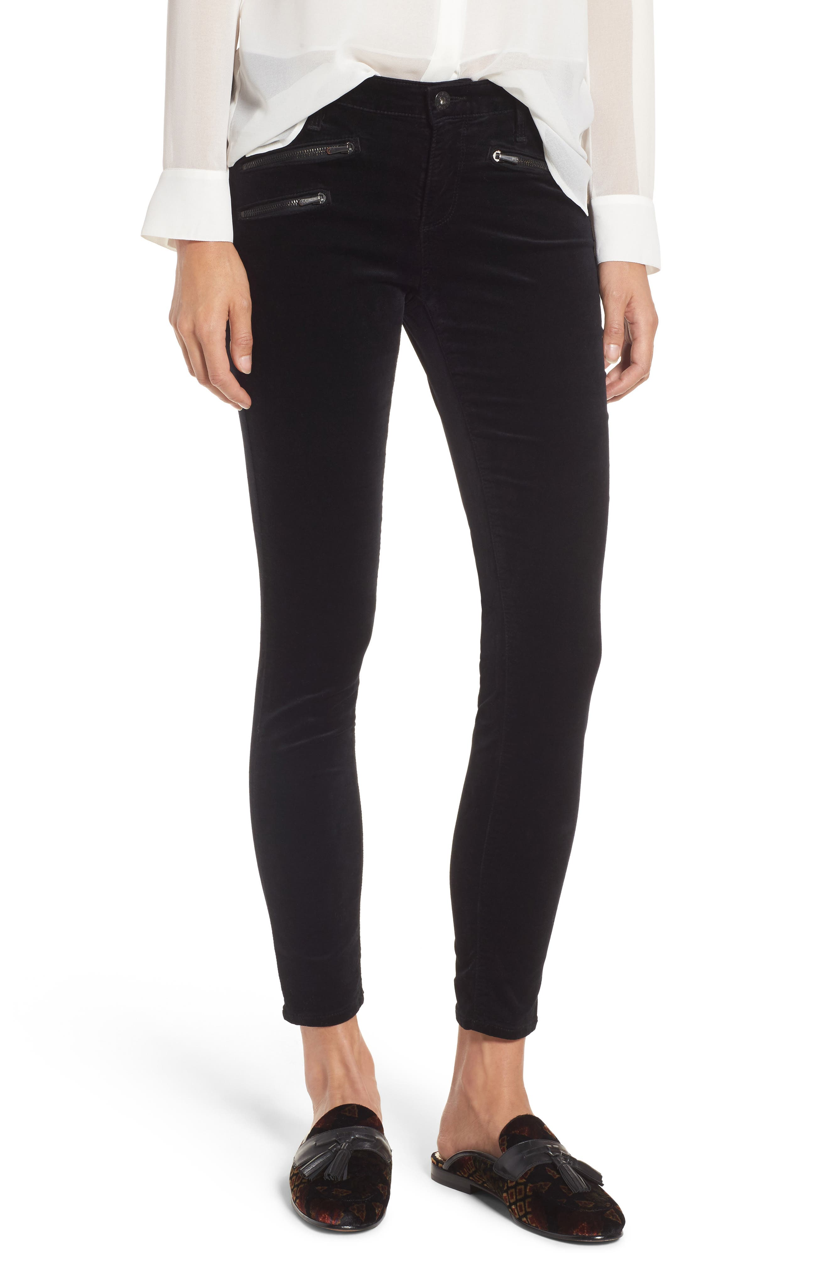 AG The Legging Ankle Skinny Moto Velvet Pants