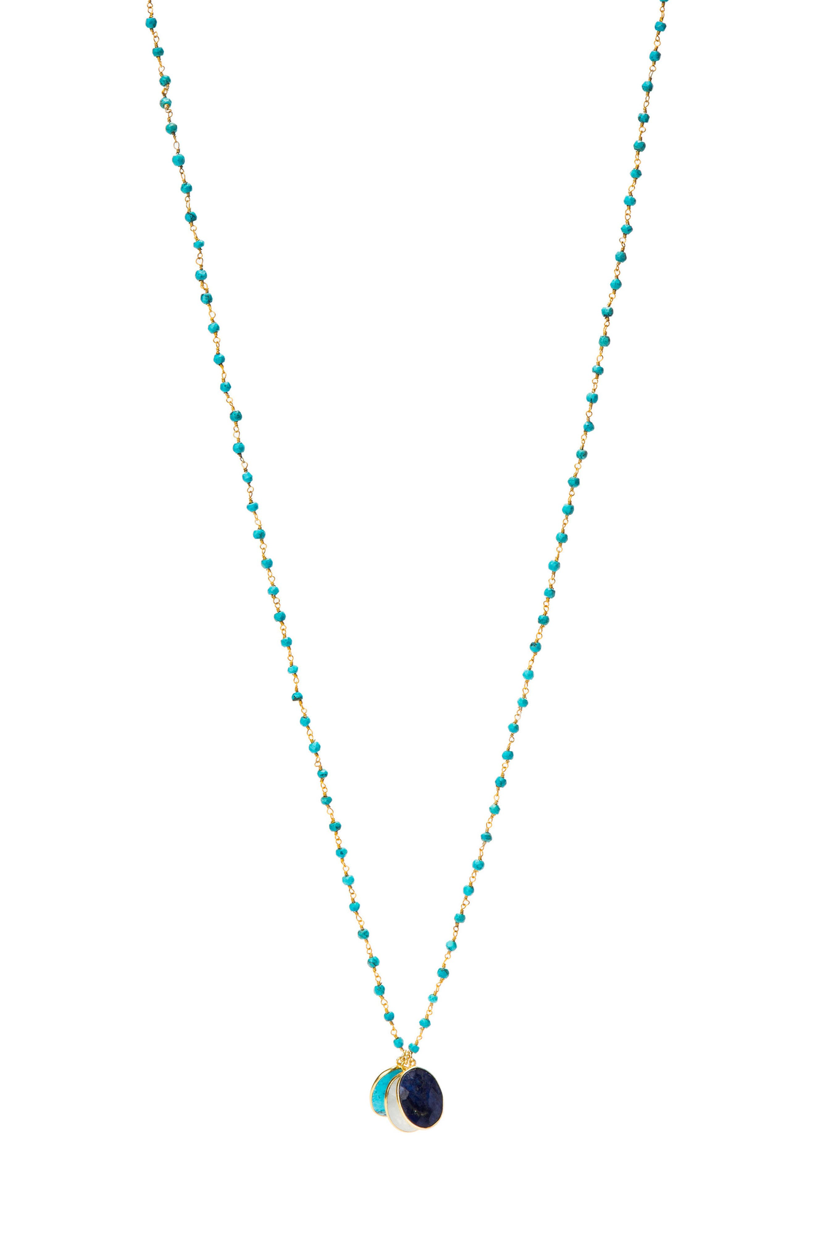 Grenada Long Pendant Necklace,                             Main thumbnail 1, color,                             Turquoise
