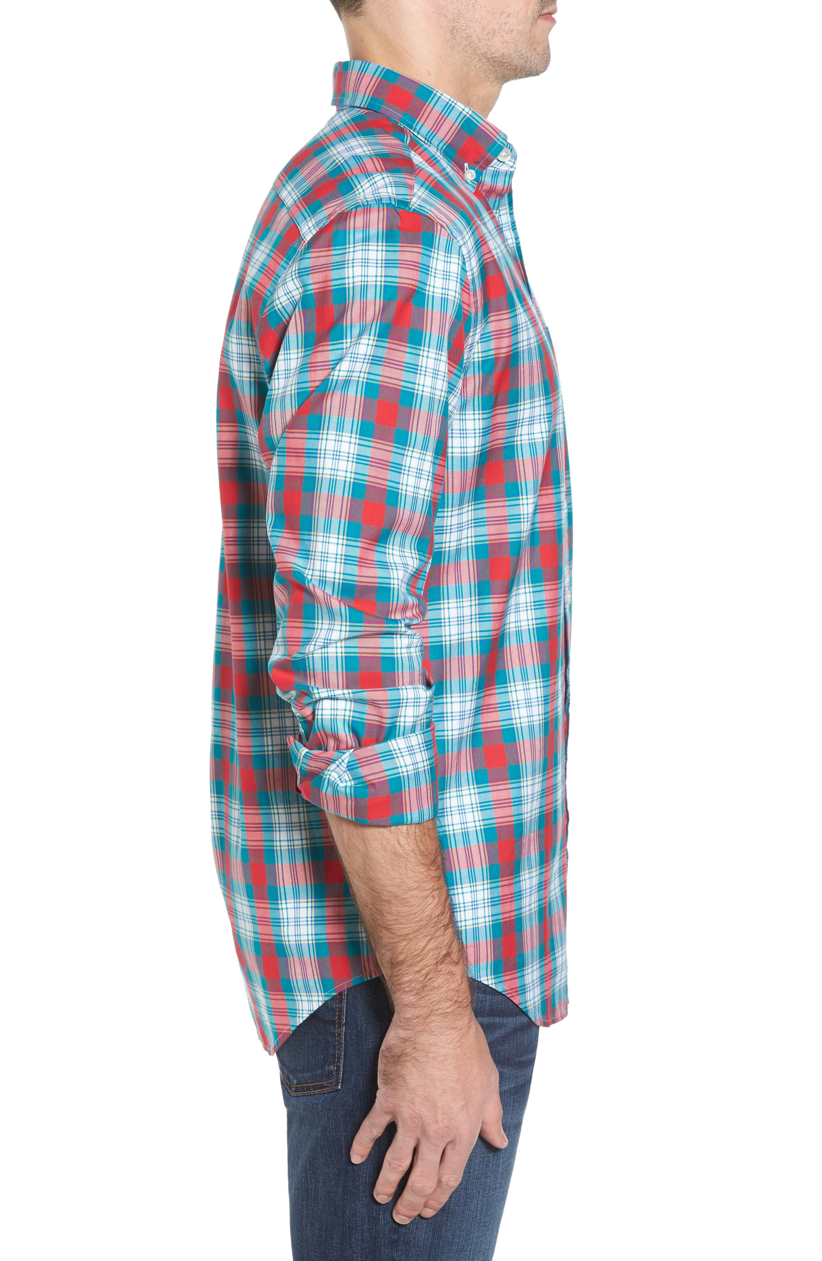 Elmwood Classic Fit Plaid Sport Shirt,                             Alternate thumbnail 3, color,                             Cape Teal