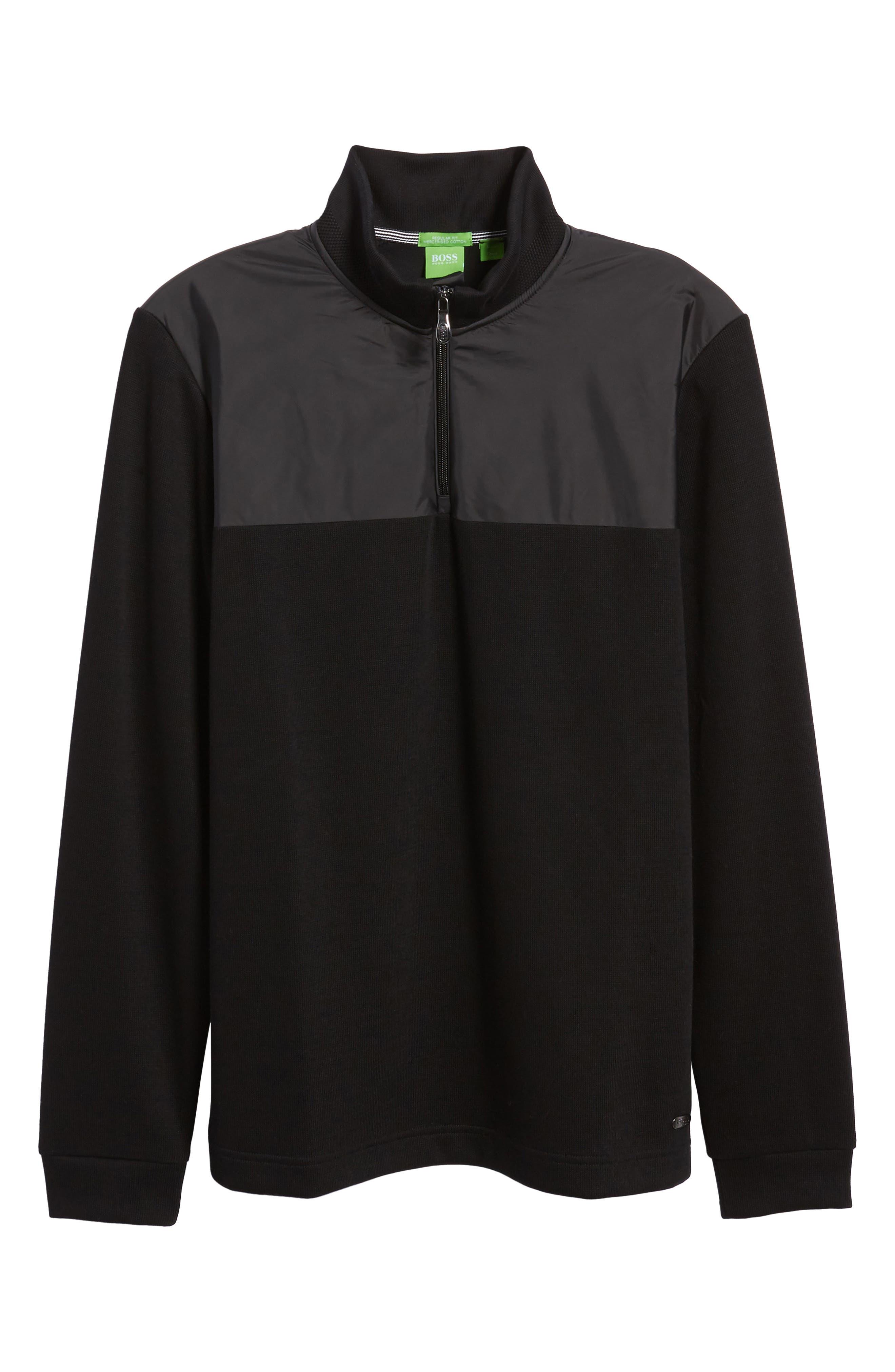C-Piceno Quarter Zip Fleece Pullover,                             Alternate thumbnail 6, color,                             Black