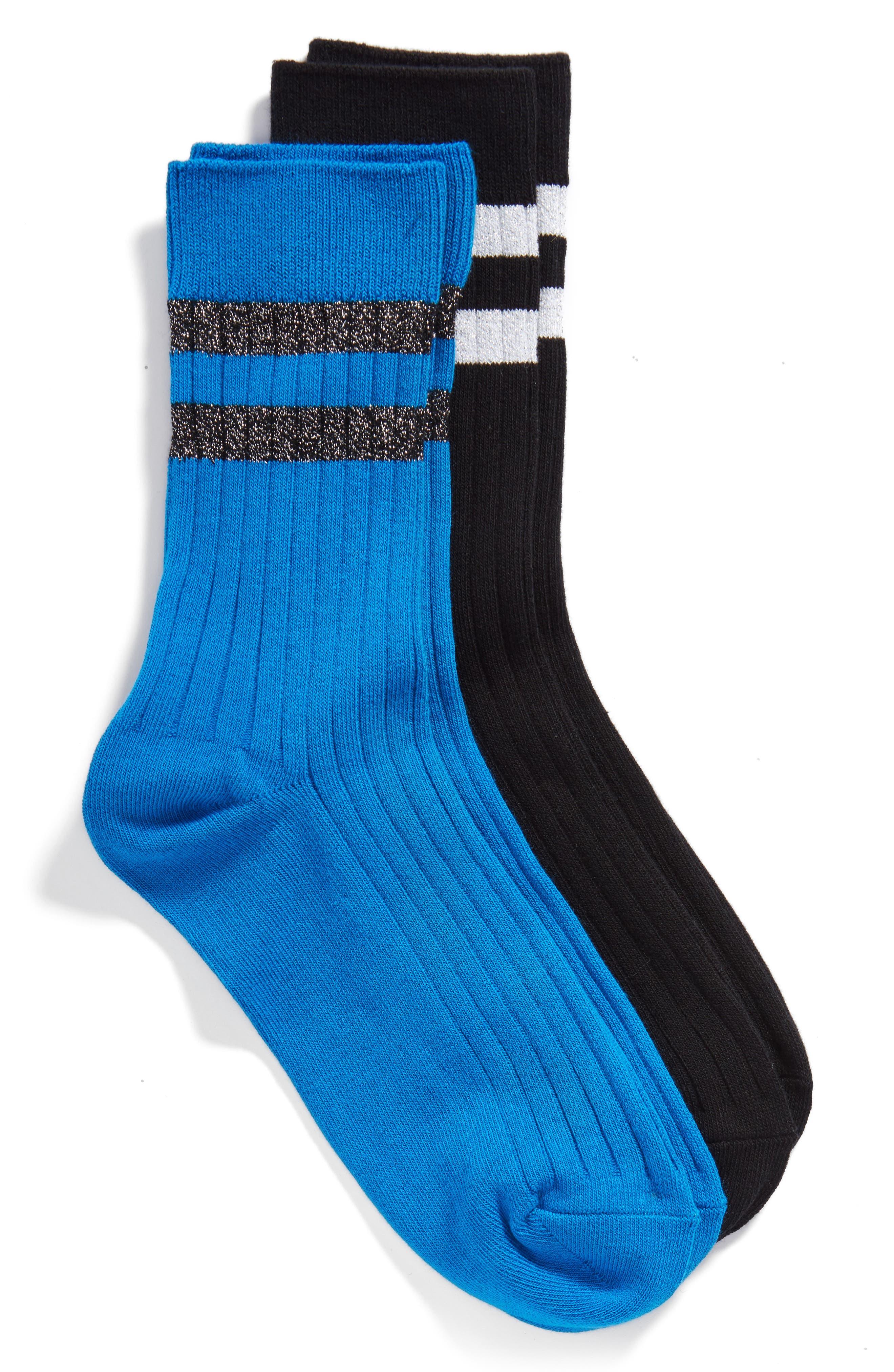 Hue 2-Pack Metallic Stripe Ribbed Socks