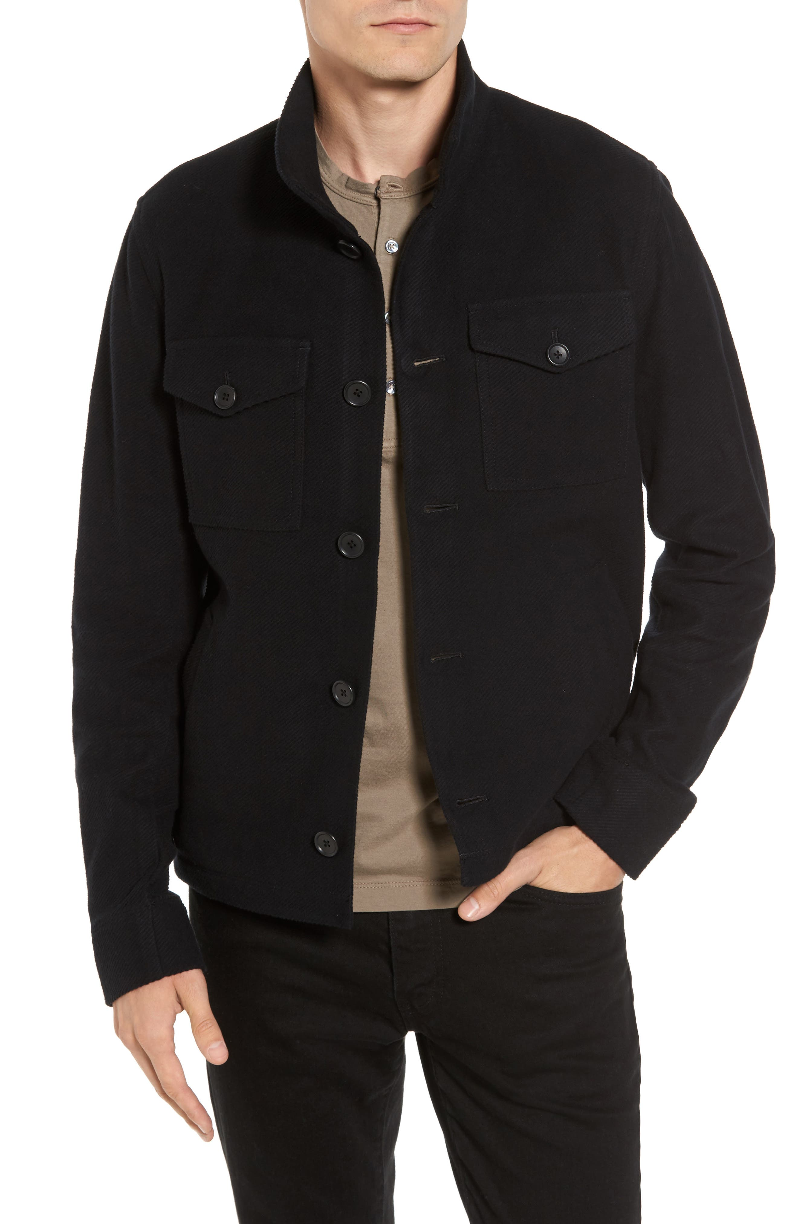 James Perse Drill Button Front Knit Jacket