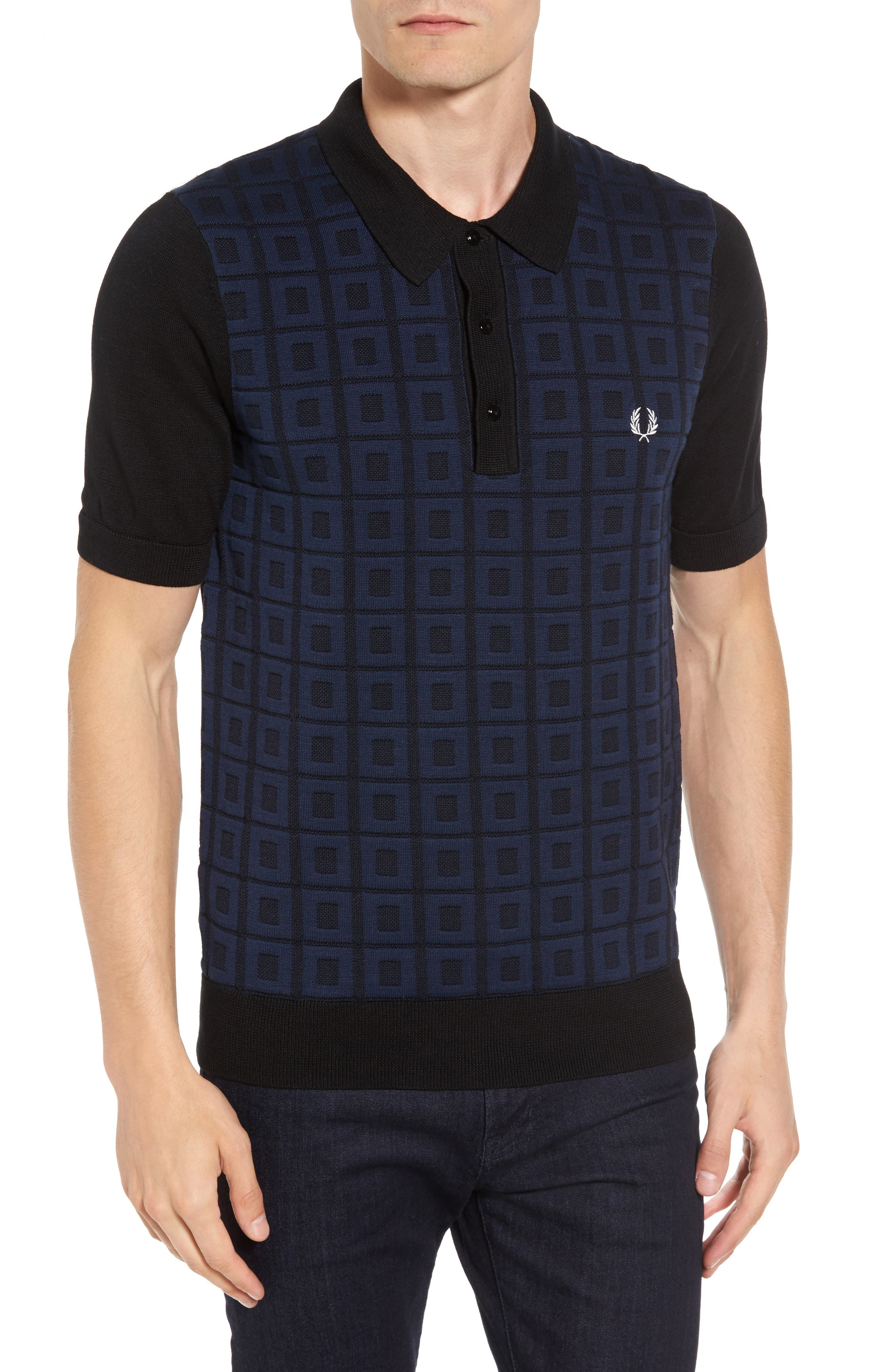Jacquard Polo,                         Main,                         color, Black