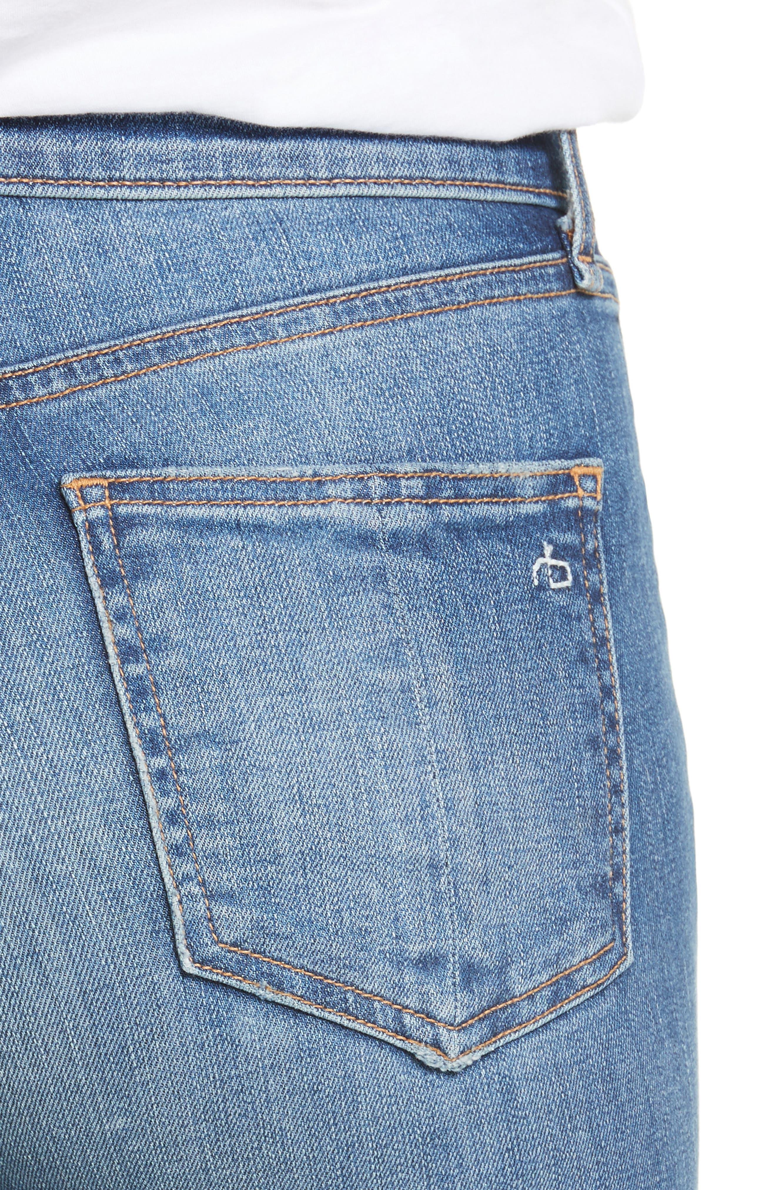 Alternate Image 4  - rag & bone/JEAN Ripped High Waist Skinny Jeans (Bonnie)