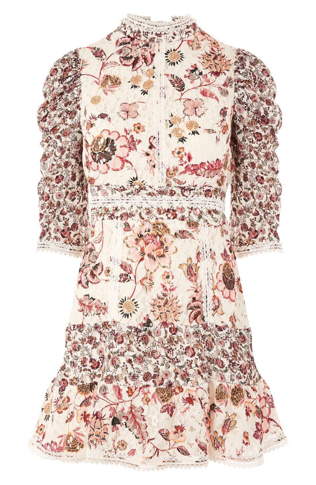 Alternate Image 5  - Topshop Floral Lace Strappy Back Dress