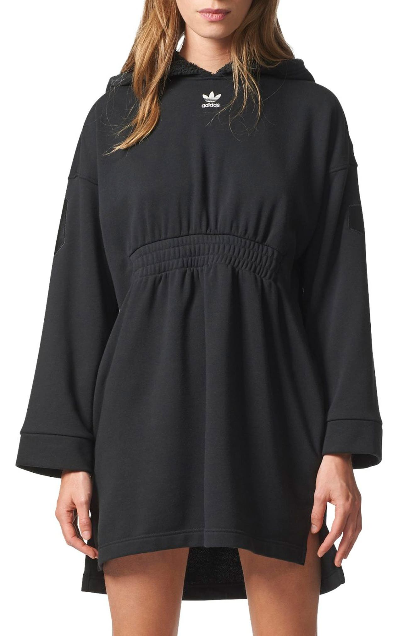 Originals Hooded French Terry Dress,                             Main thumbnail 1, color,                             Black