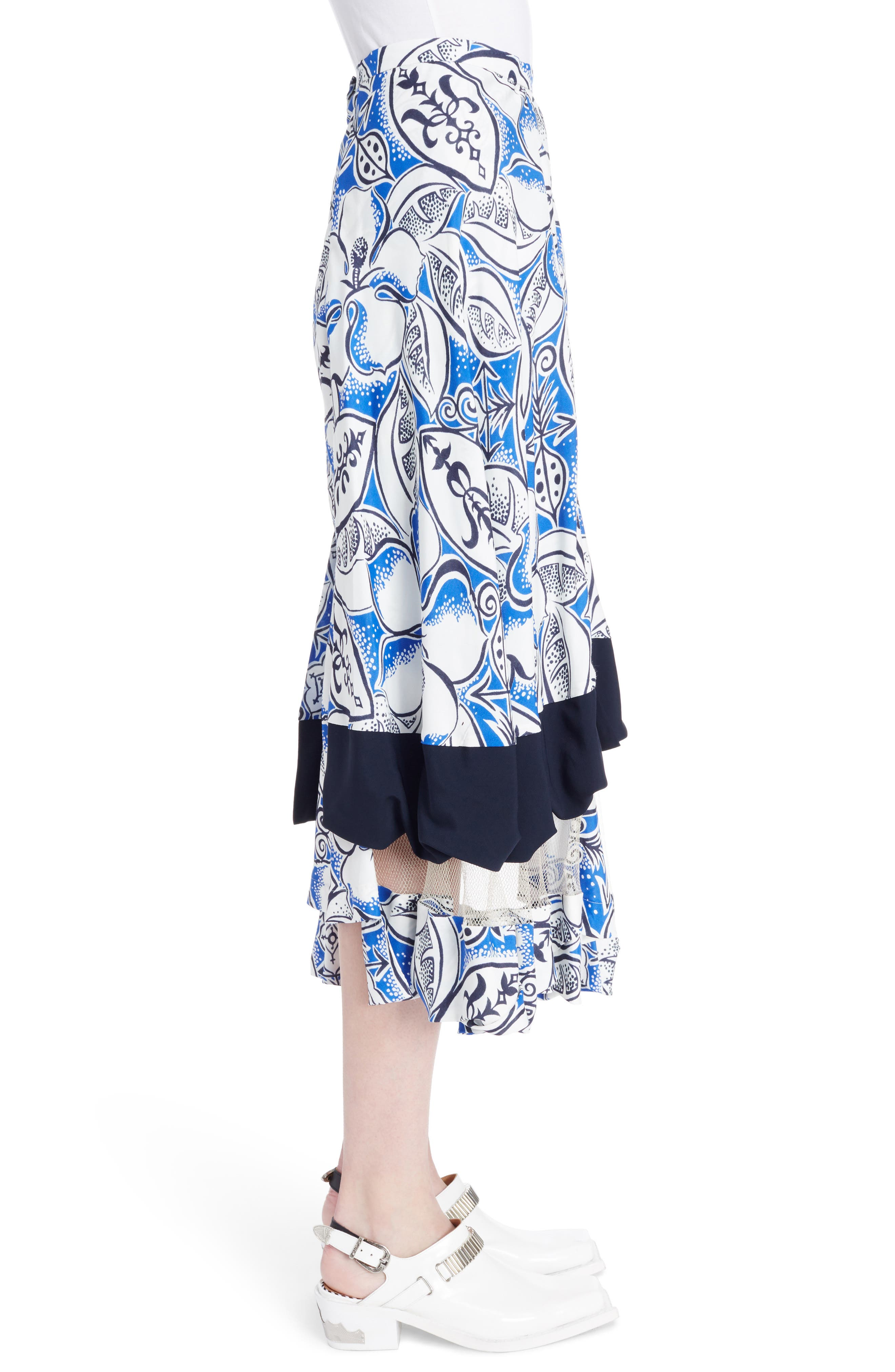 Print Tiered Skirt with Mesh Insets,                             Alternate thumbnail 3, color,                             Blue