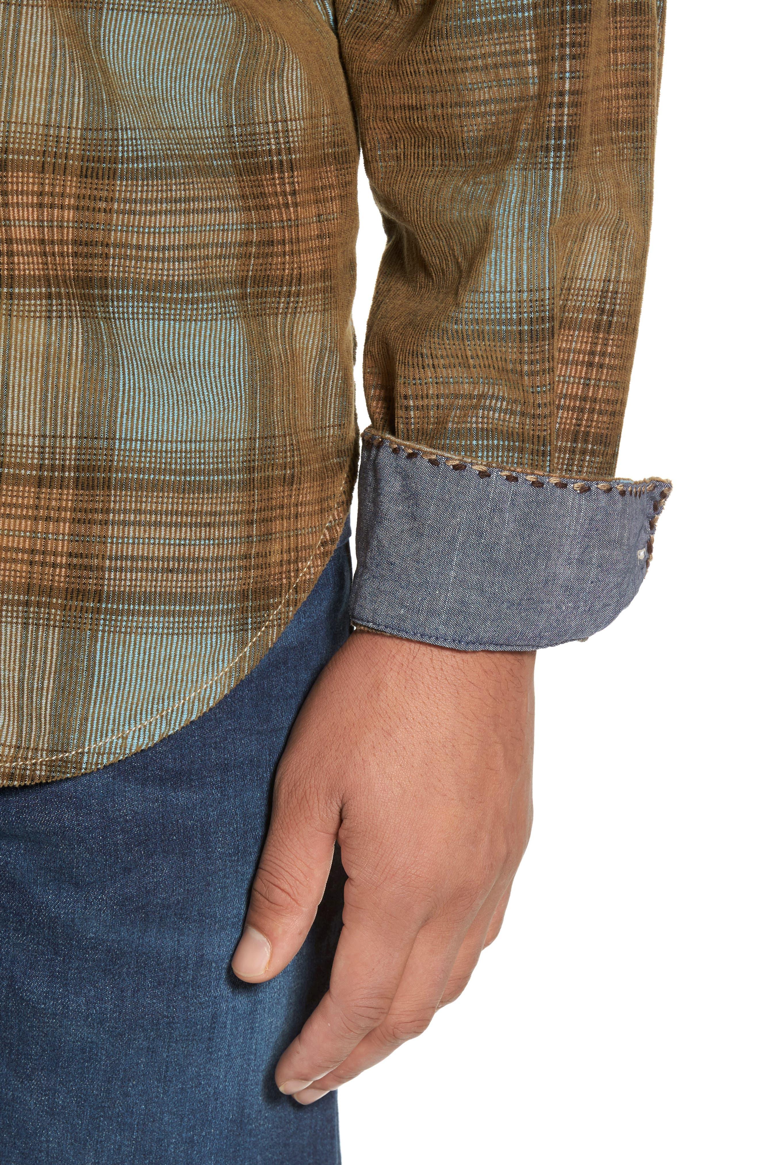 Alternate Image 4  - True Grit Ventura Vintage Slim Fit Plaid Corduroy Shirt