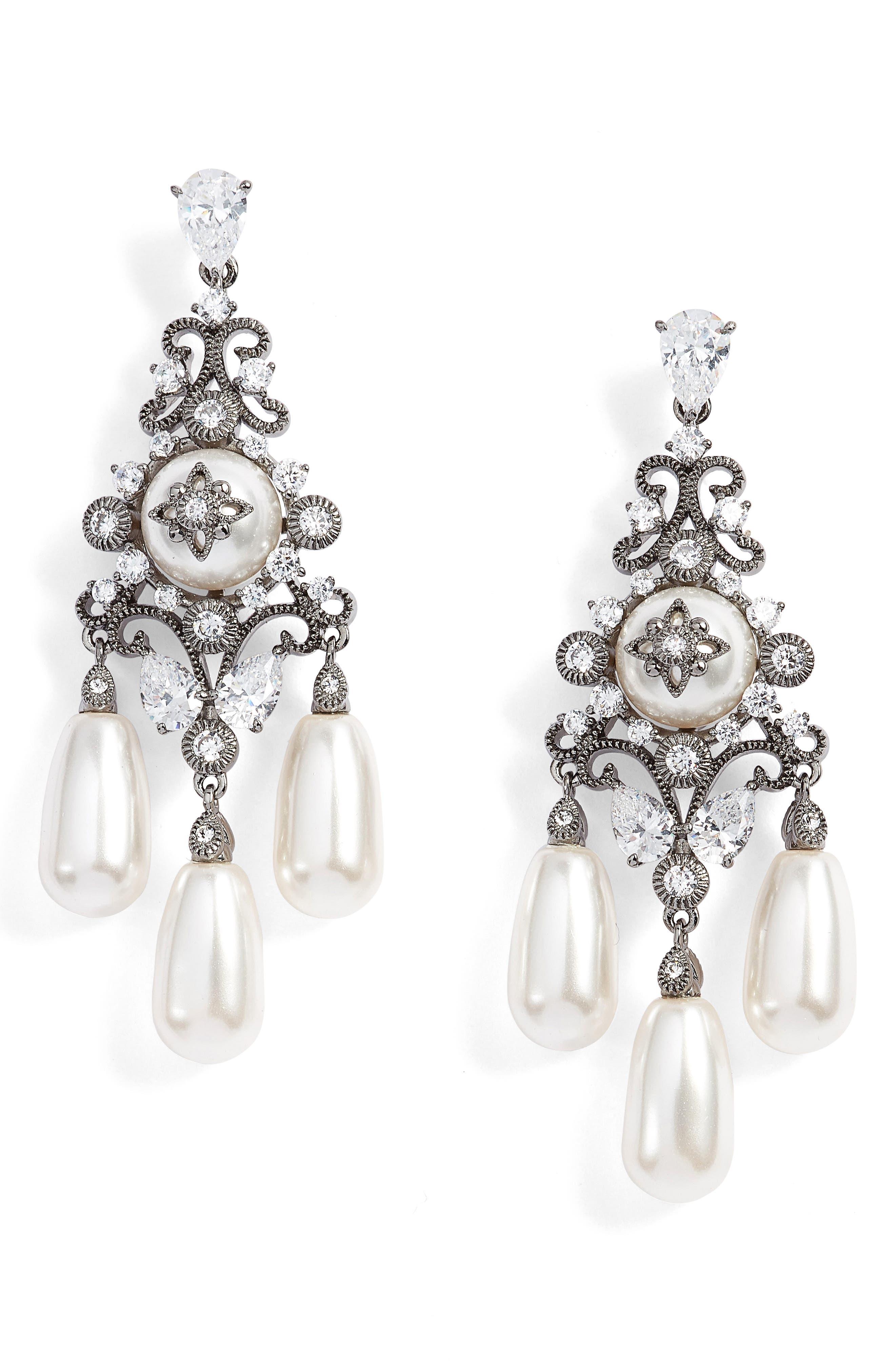 Main Image - Nadri Simulated Pearl & Crystal Drop Earrings