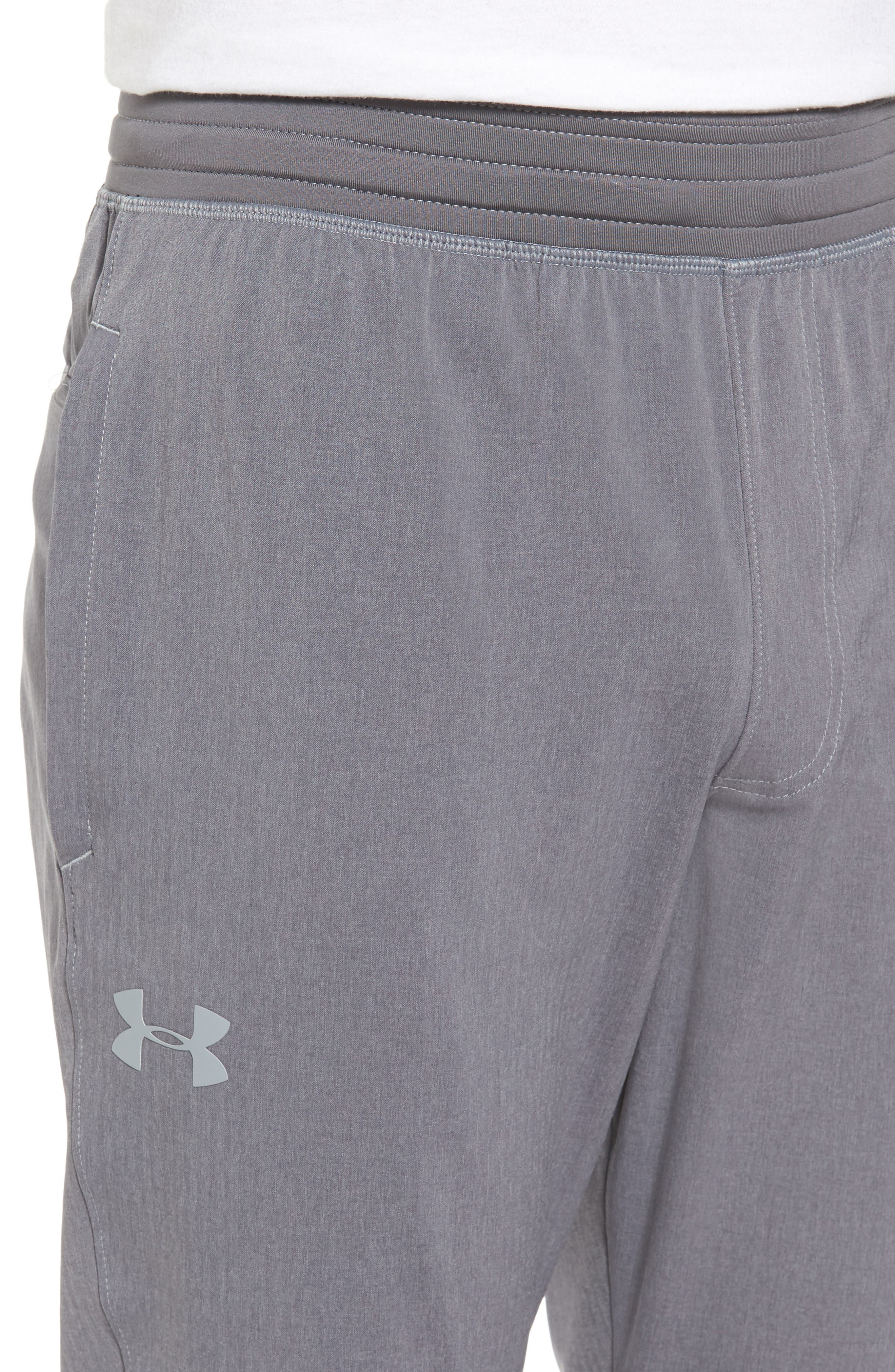 Fitted Woven Training Pants,                             Alternate thumbnail 4, color,                             Grey Heather / Black / Steel