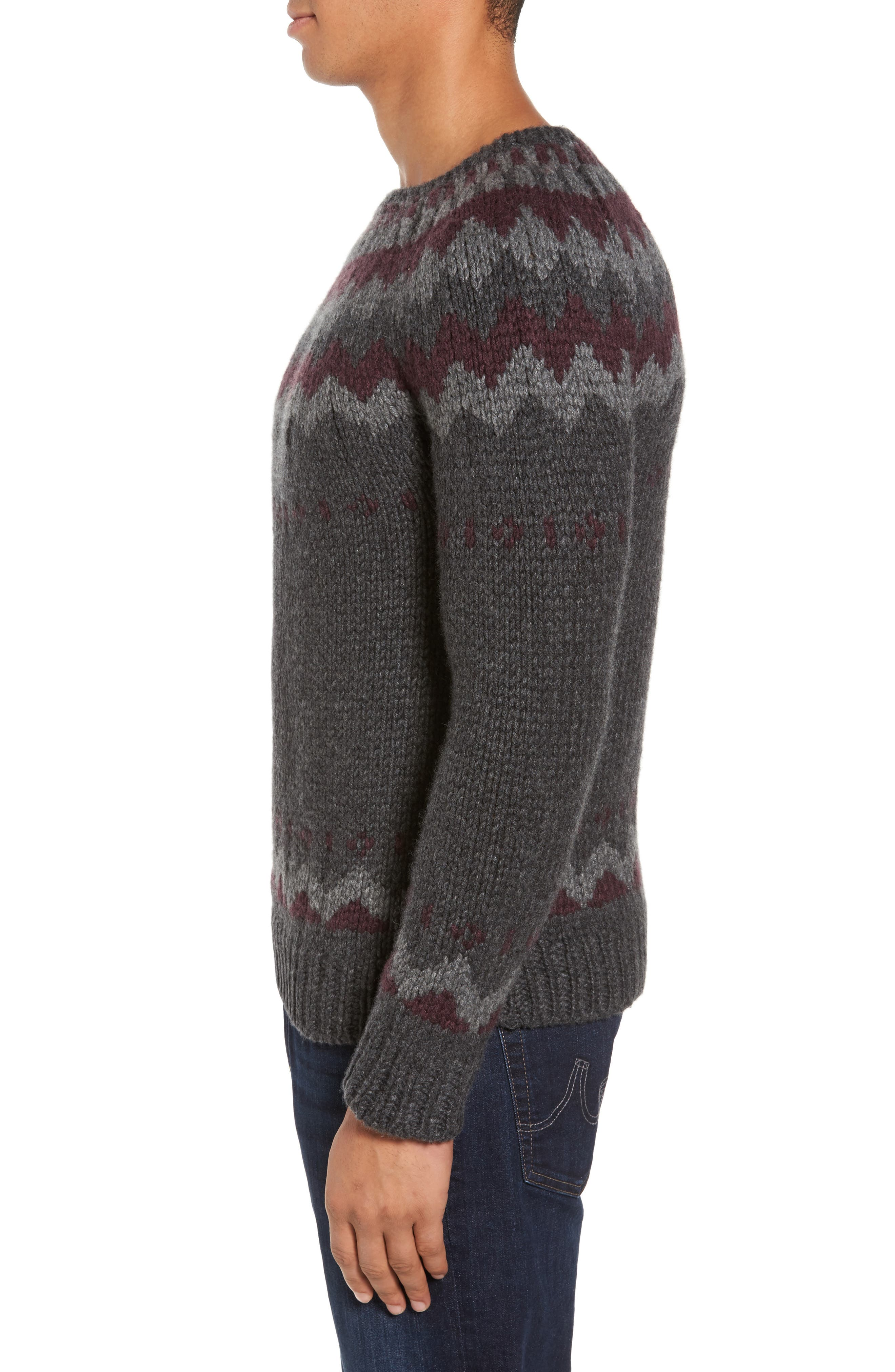 Intarsia Cashmere Sweater,                             Alternate thumbnail 3, color,                             Grey / Burgundy/ Light Grey