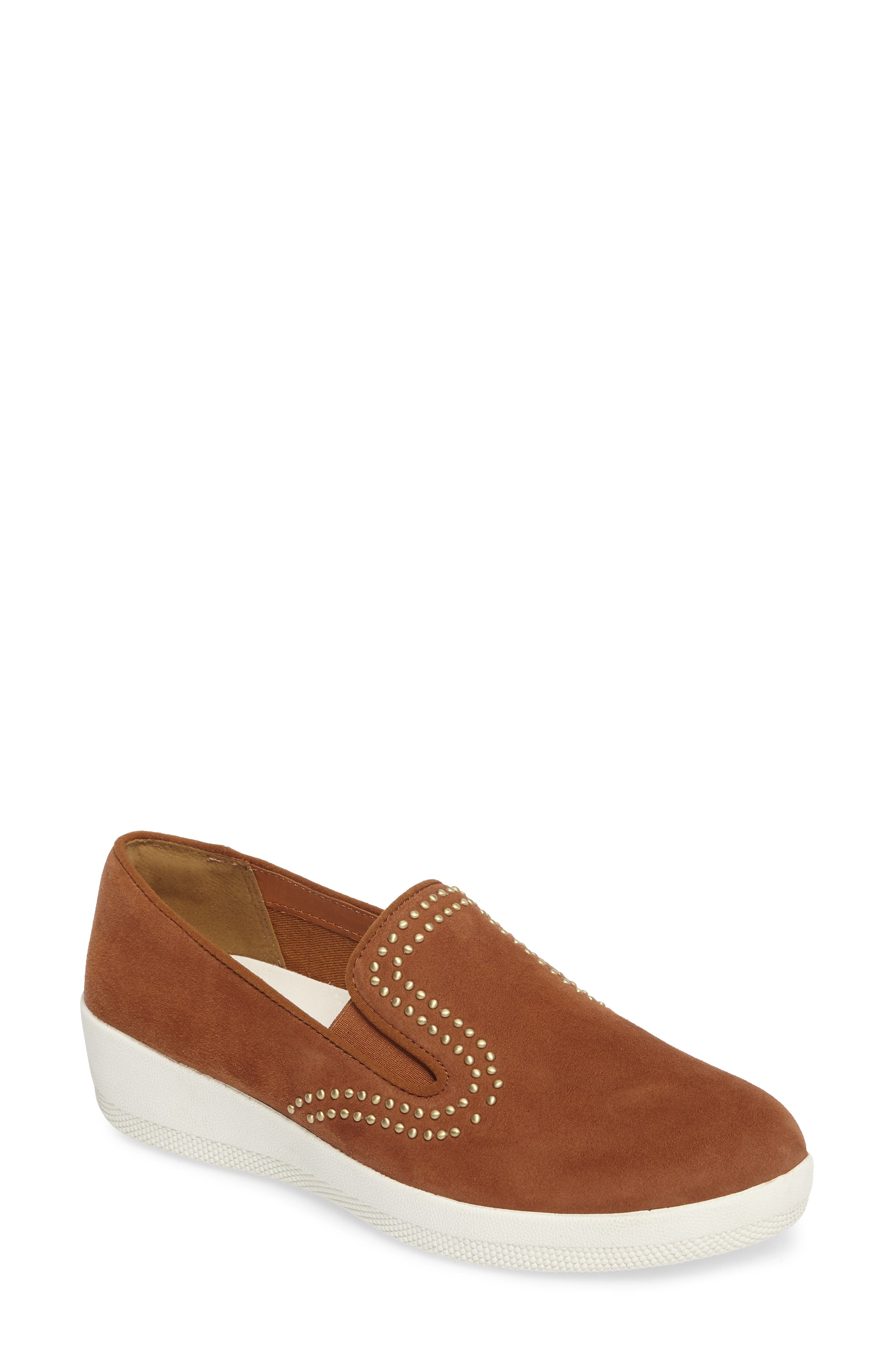 Superskate Studded Wedge Loafer,                             Main thumbnail 1, color,                             Tan Faux Suede