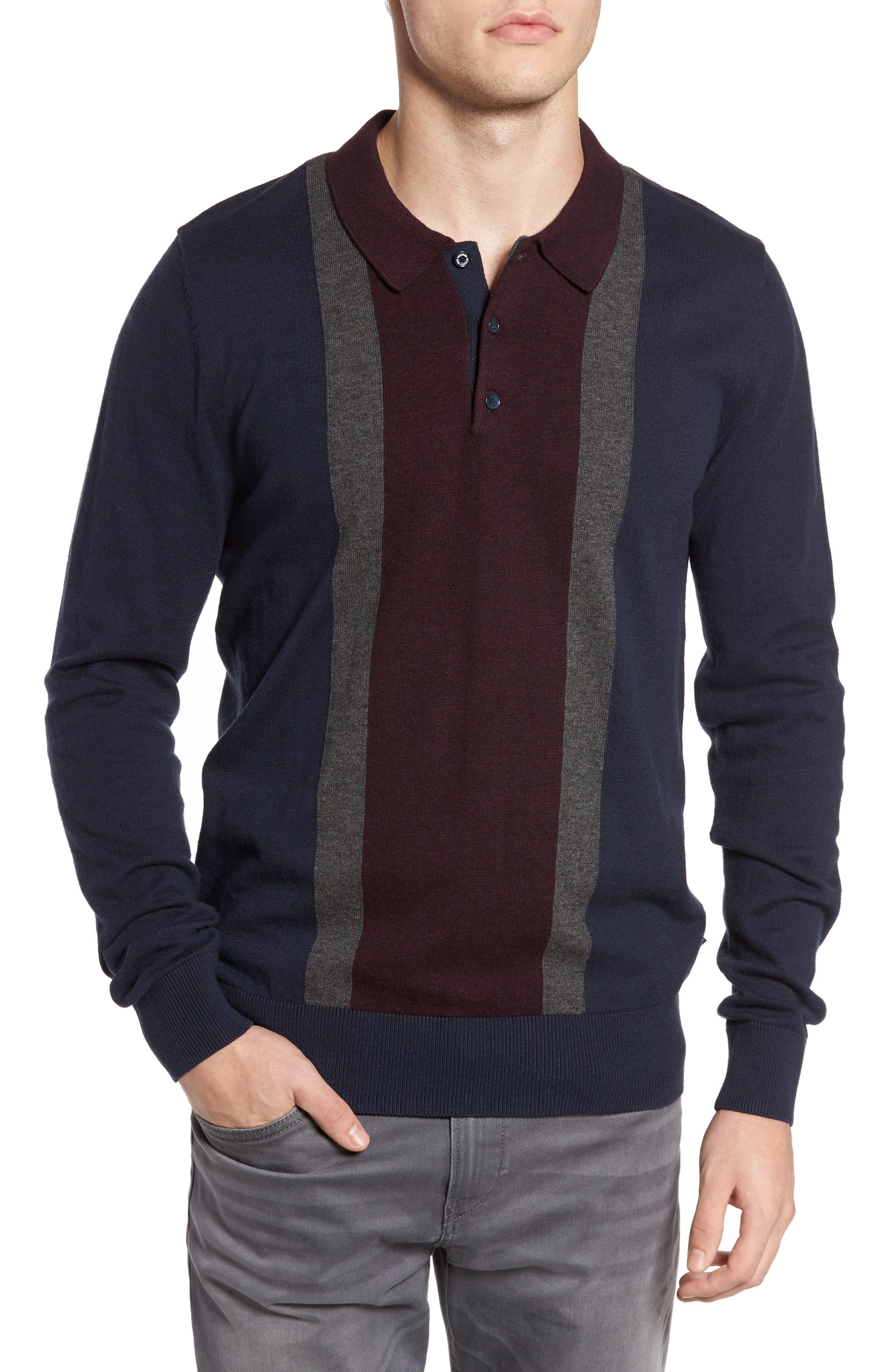 Colorblock Long Sleeve Polo,                         Main,                         color, Navy