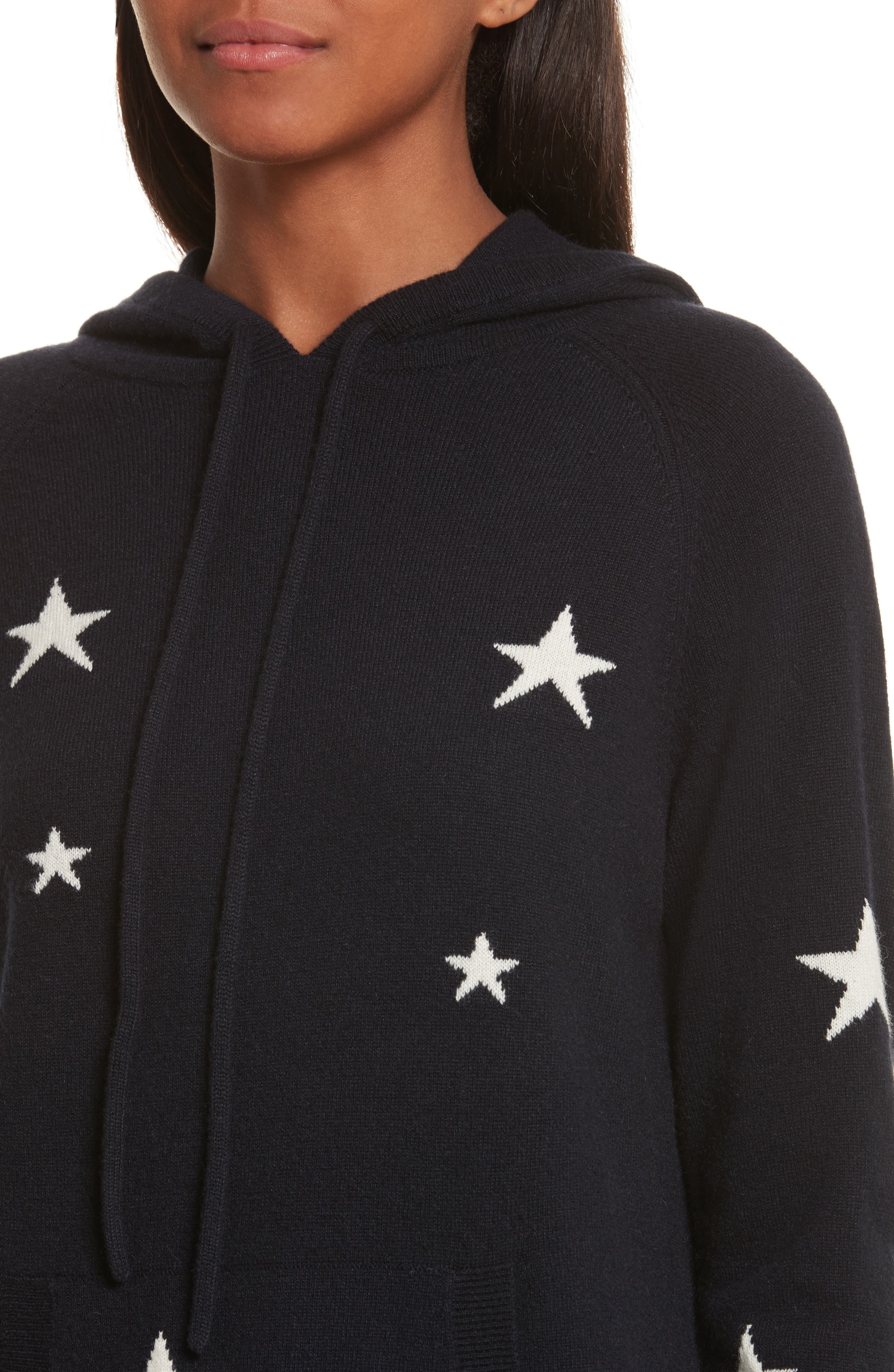 CHINTI & PARKER Star Cashmere Hoodie,                             Alternate thumbnail 4, color,                             Navy/ Cream