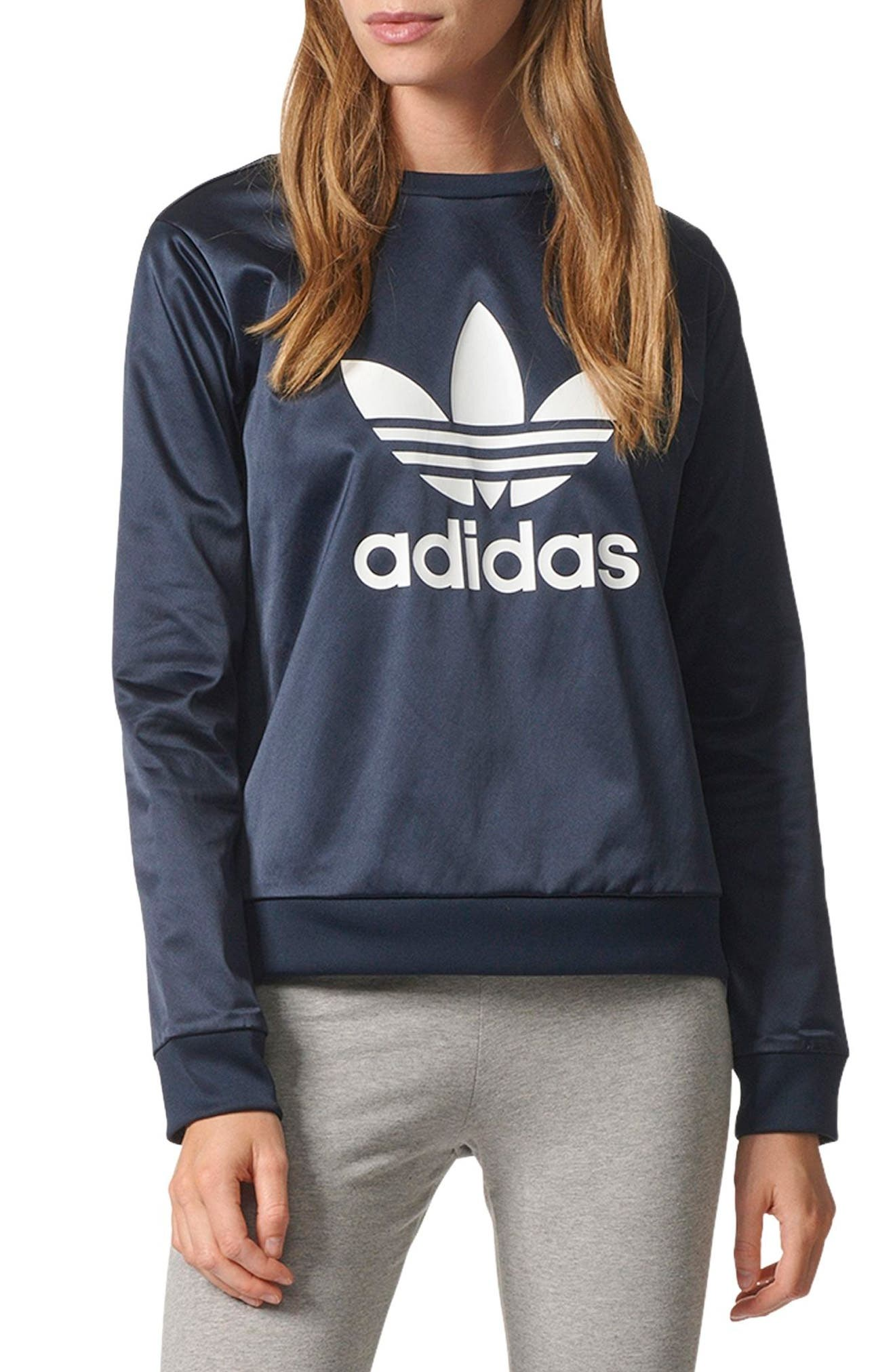 Main Image - adidas Trefoil Crewneck Sweater
