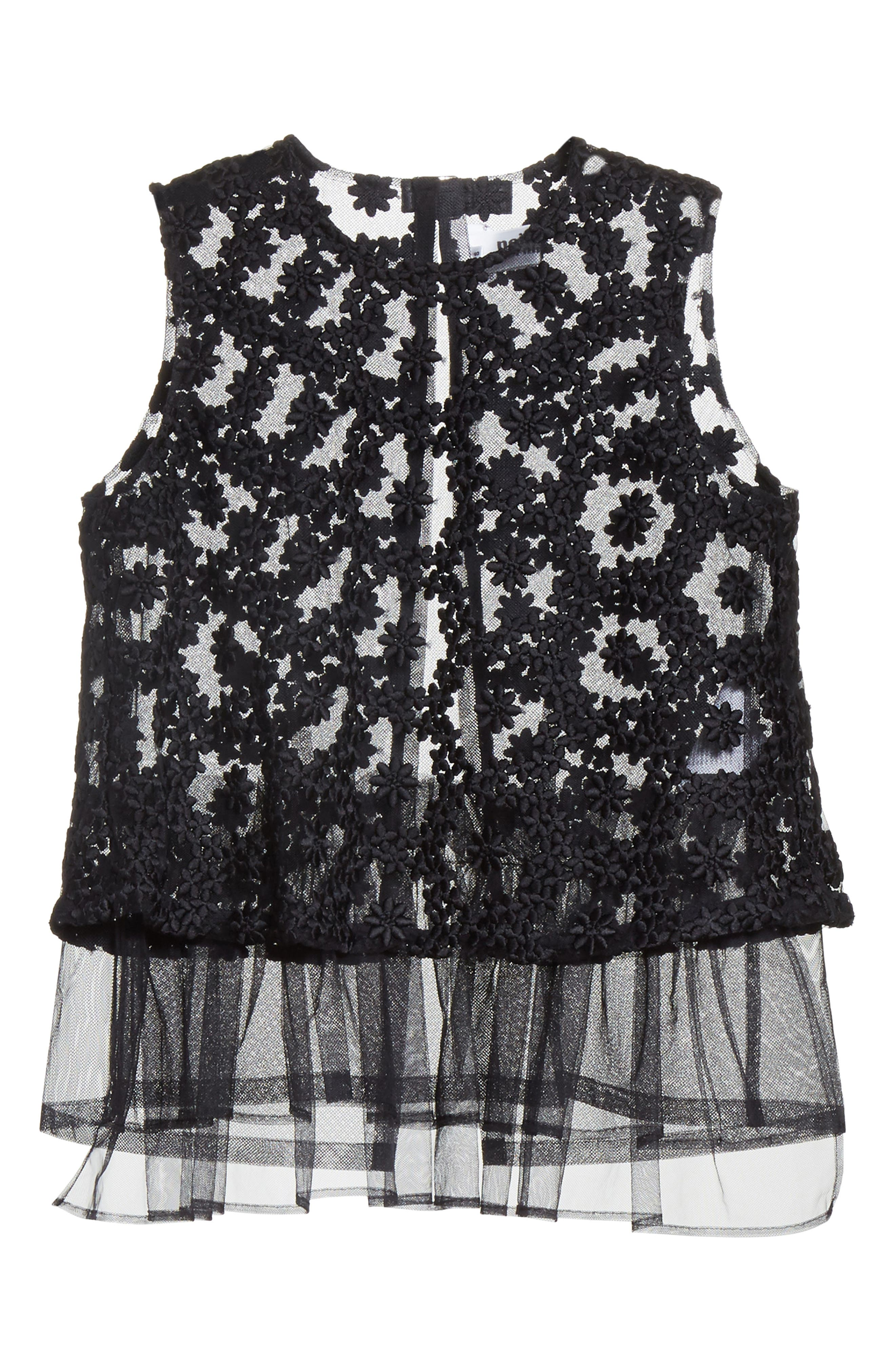 Floral Embroidered Tulle Top,                             Alternate thumbnail 6, color,                             Black