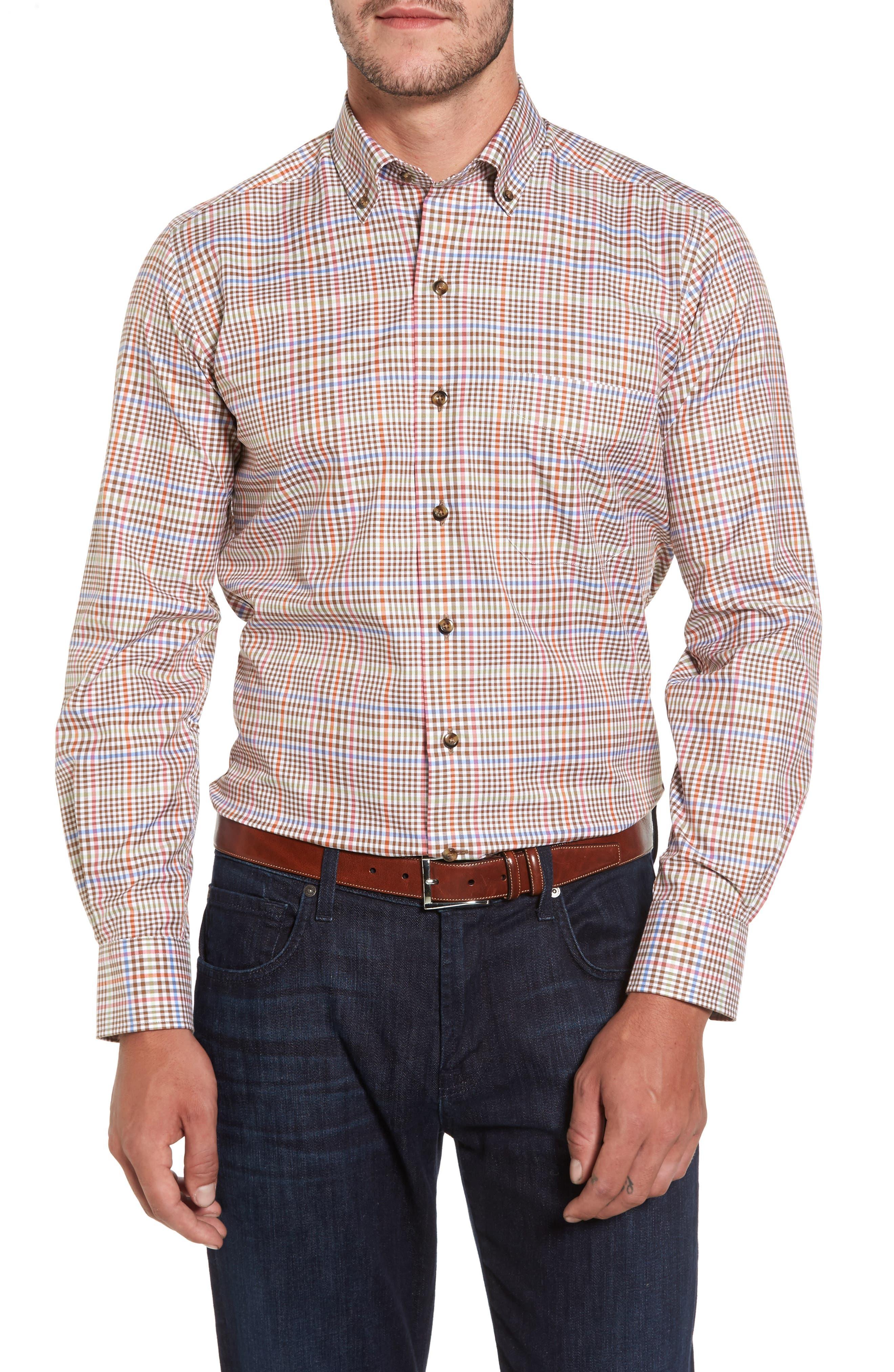 David Donahue Check Herringbone Sport Shirt