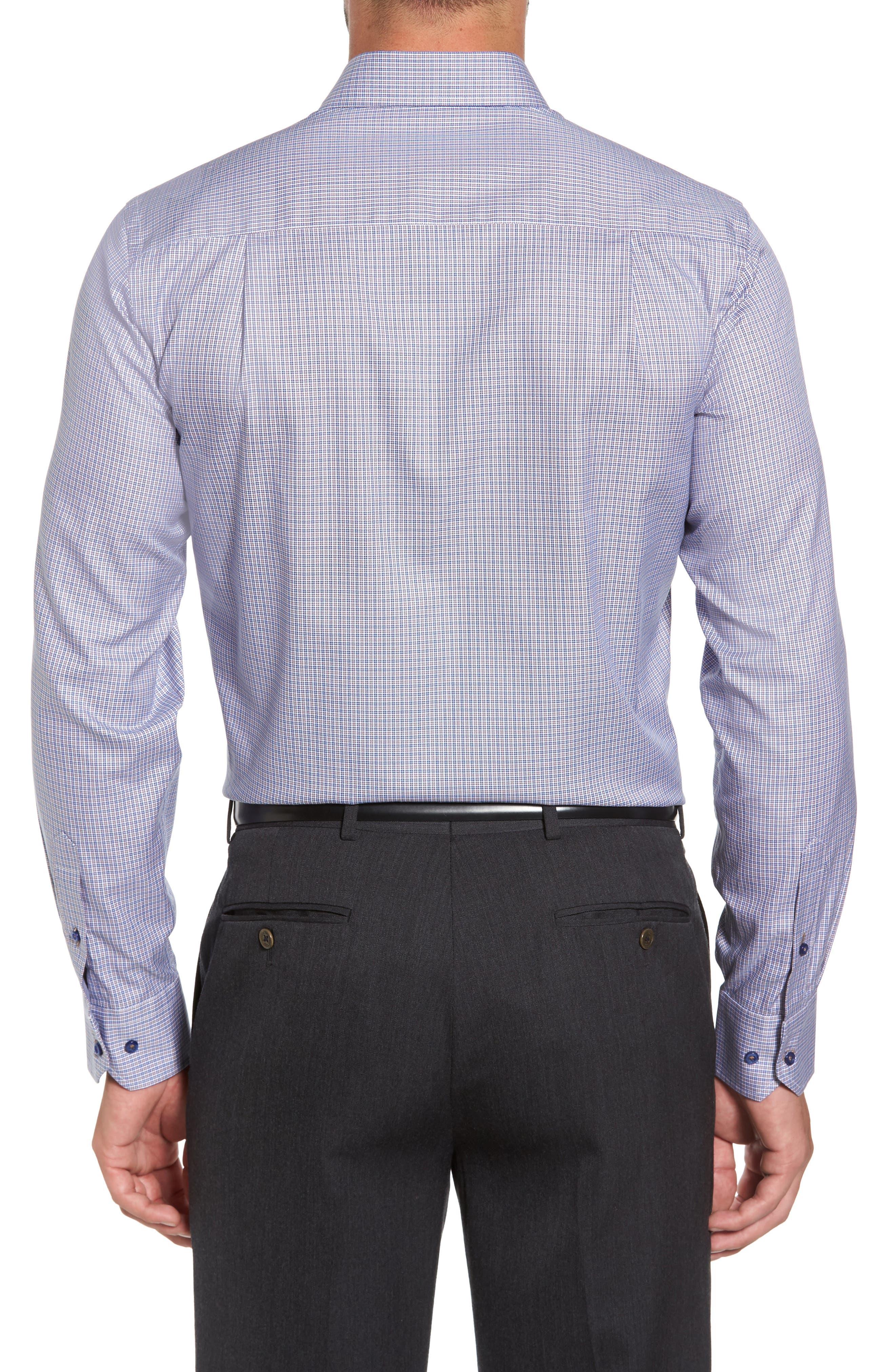 Microcheck Sport Shirt,                             Alternate thumbnail 2, color,                             Navy/ Chocolate