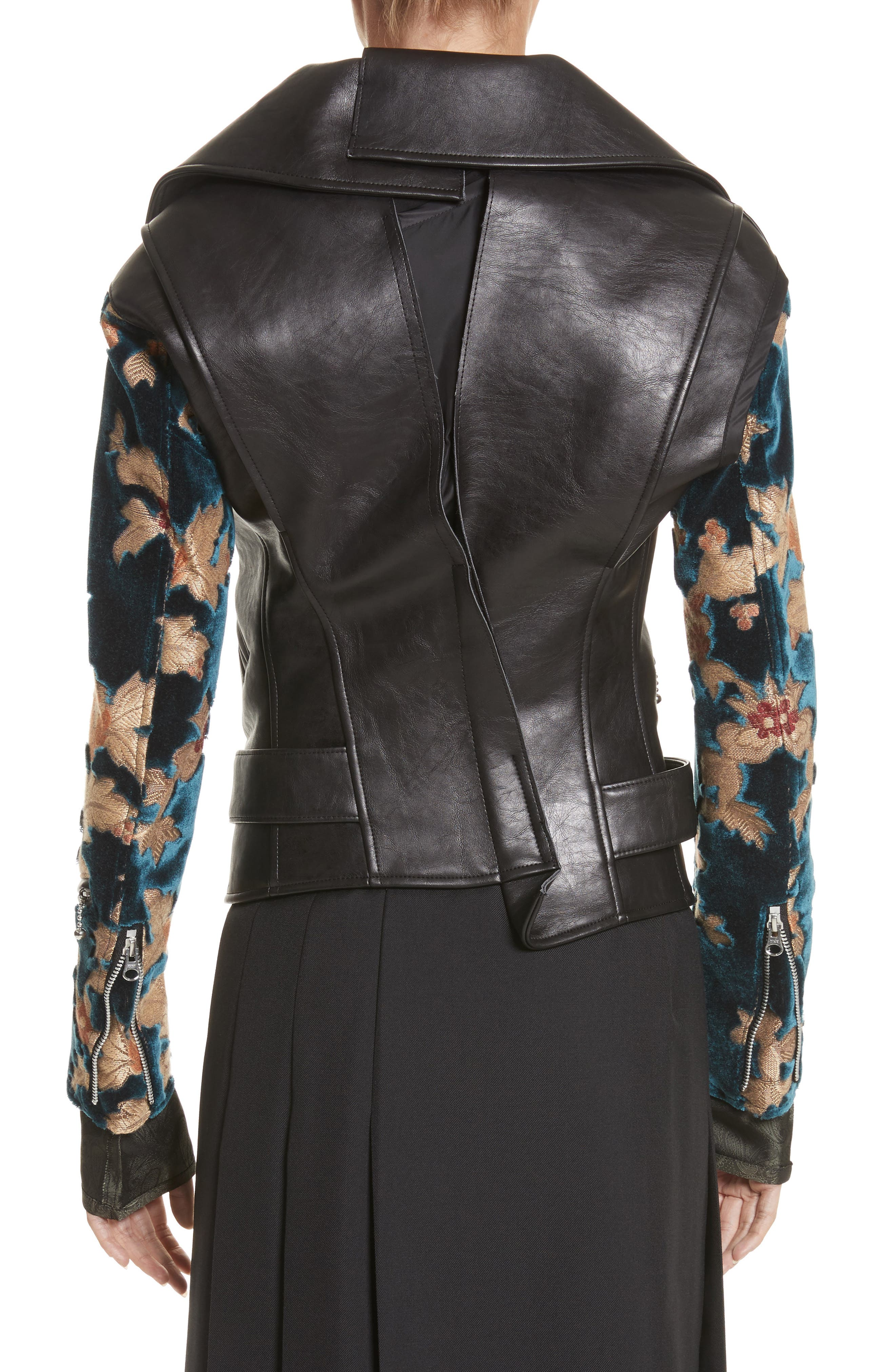Faux Leather Moto Jacket with Floral Sleeves,                             Alternate thumbnail 2, color,                             Black X Blu/Bge