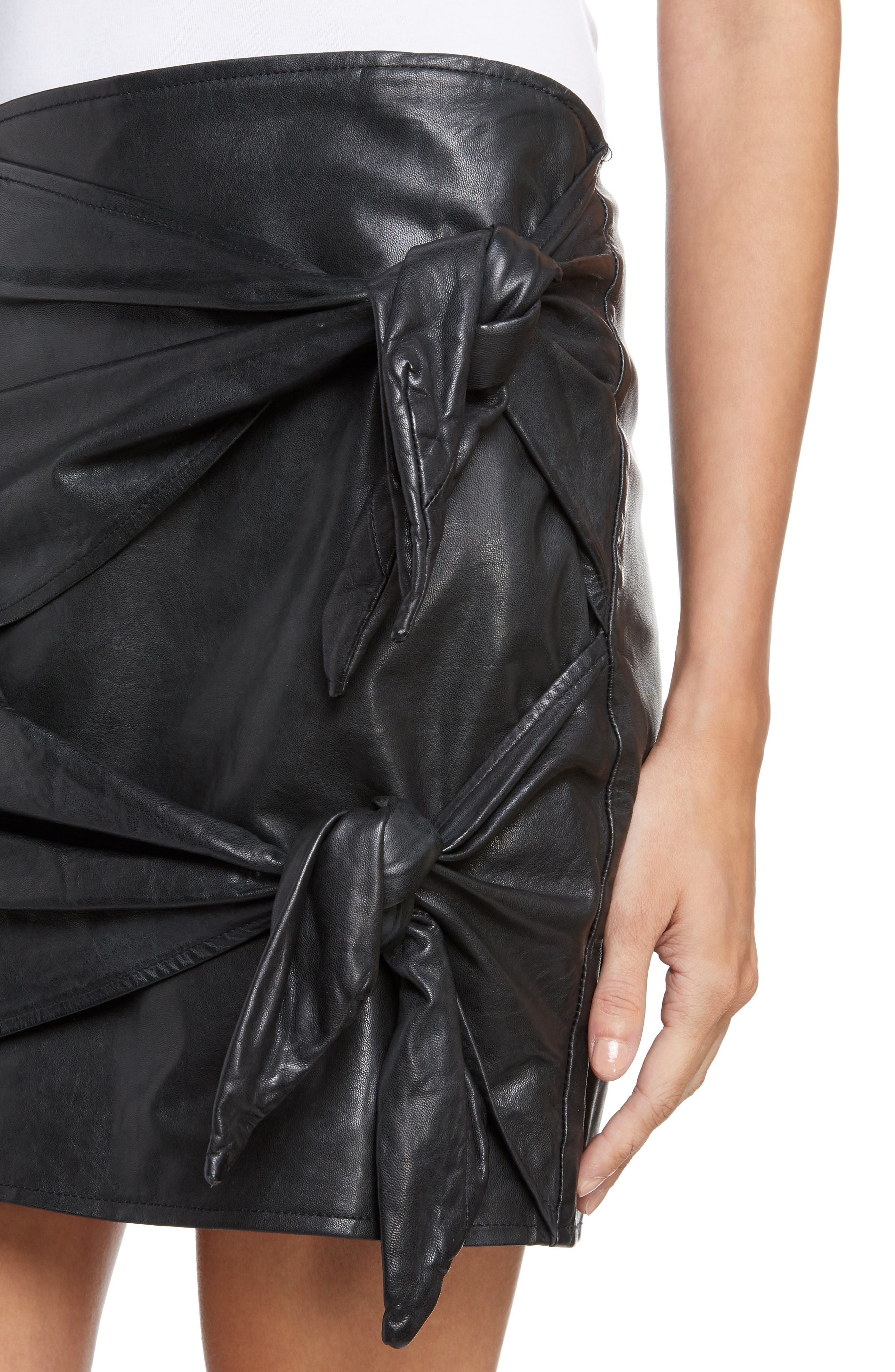 Isabel Marant Étoile Gritanny Tied Leather Skirt,                             Alternate thumbnail 4, color,                             Black
