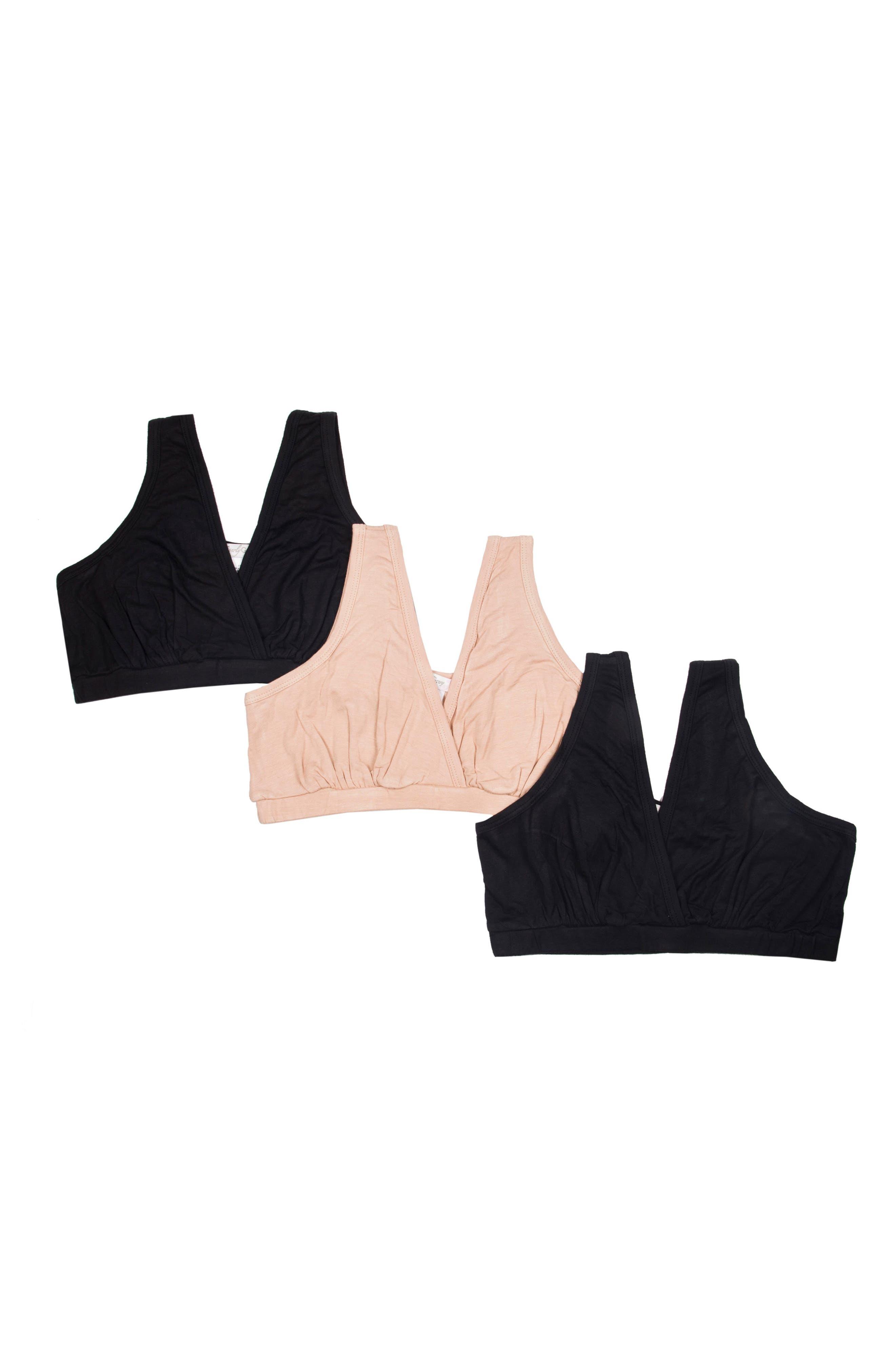 3-Pack Maternity Sleep Bras,                         Main,                         color, Black/ Nude/ Black