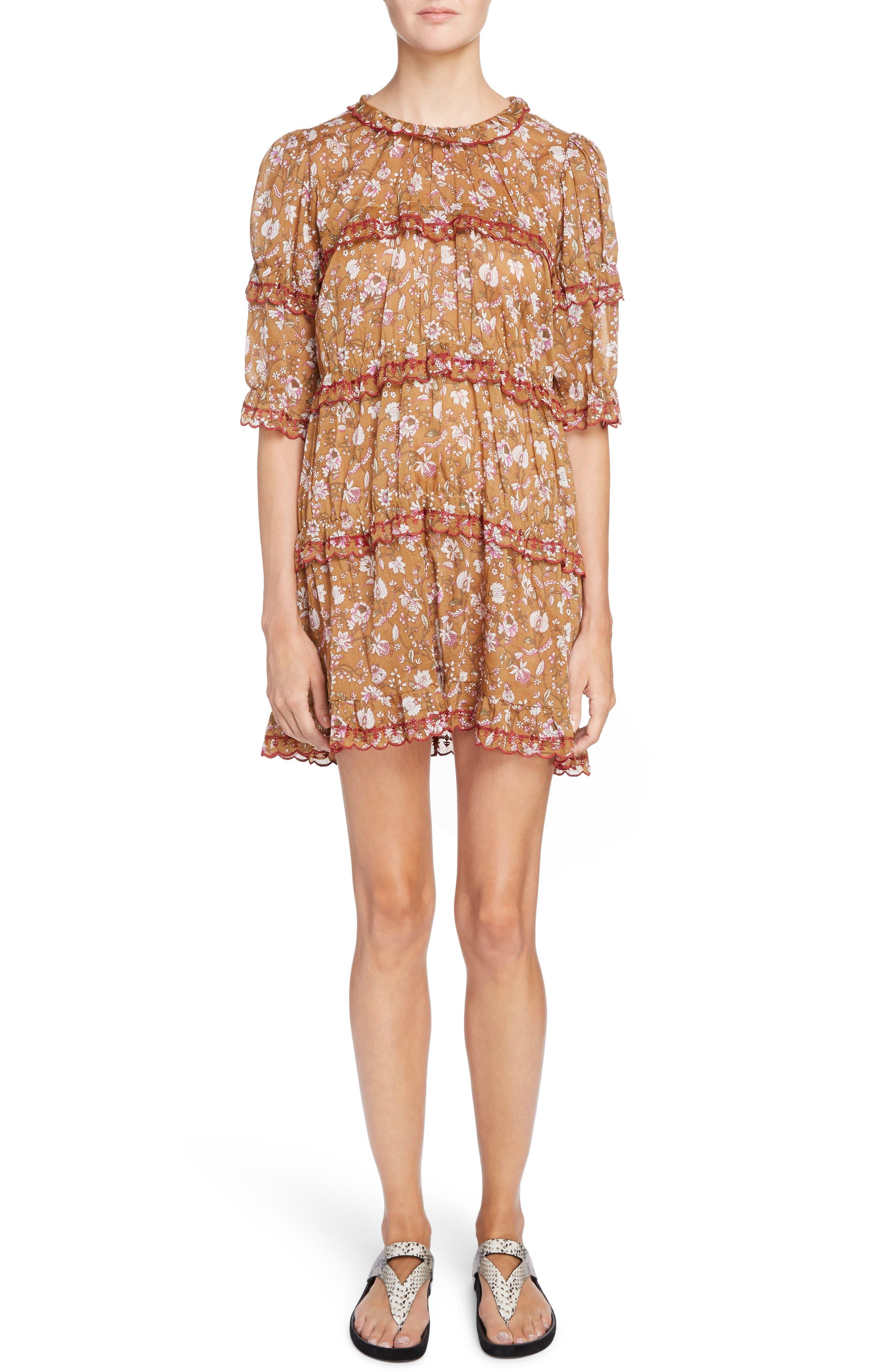 Isabel Marant Étoile Maiwenn Floral Print Cotton Dress,                         Main,                         color, Ochre