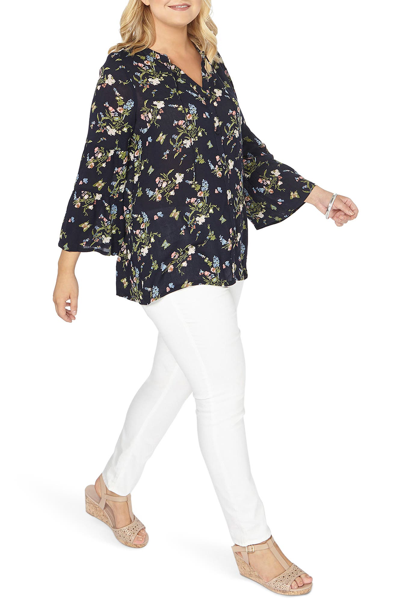 Bell Sleeve Top,                             Alternate thumbnail 4, color,                             Navy