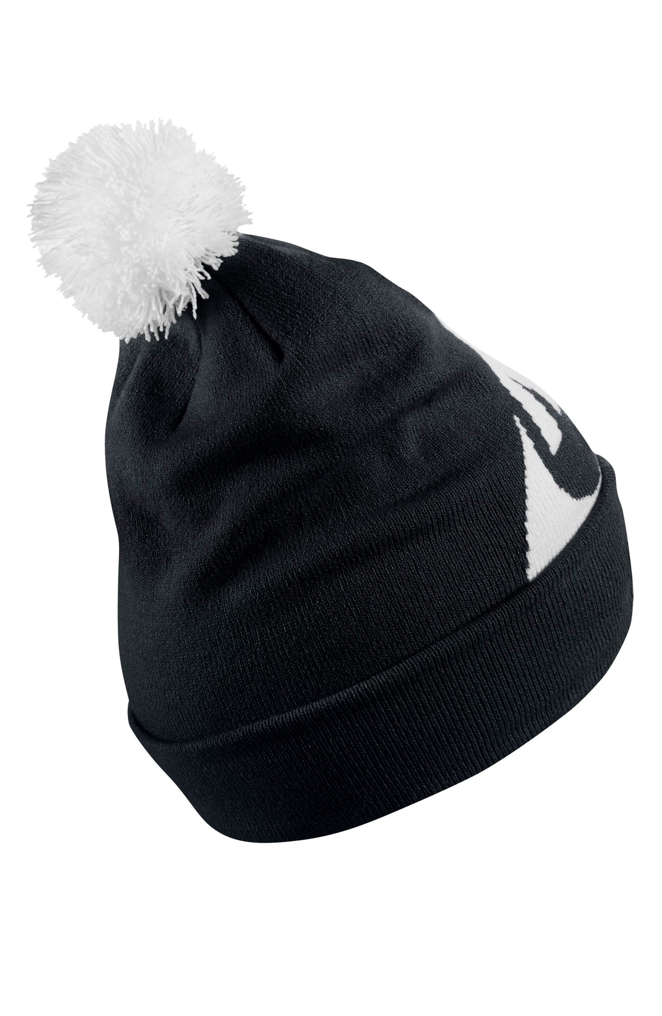 Sportswear Women's Beanie with Removable Pom,                             Alternate thumbnail 2, color,                             Black/ White/ White