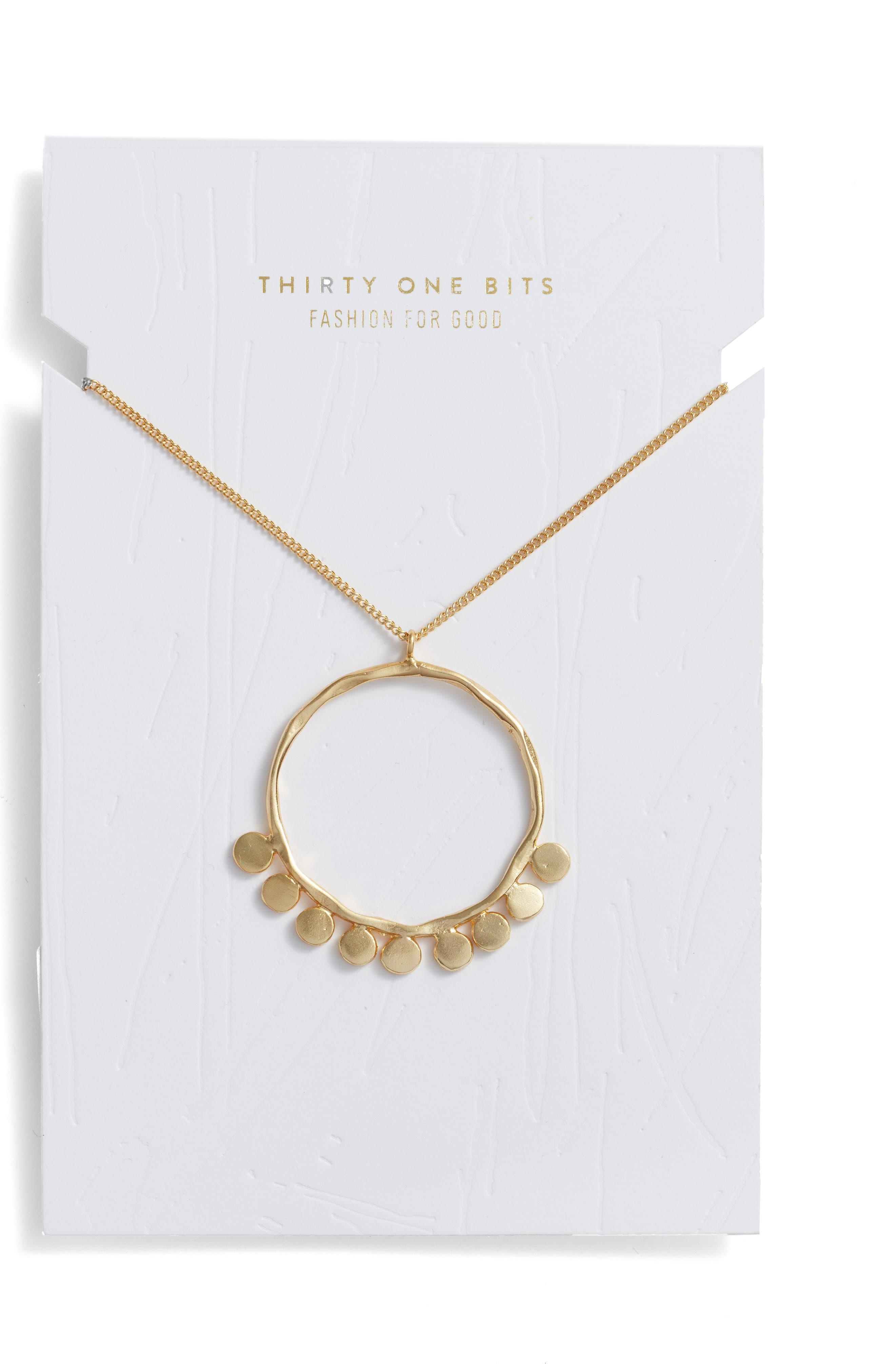 Pebble Pendant Necklace,                             Alternate thumbnail 2, color,                             Gold