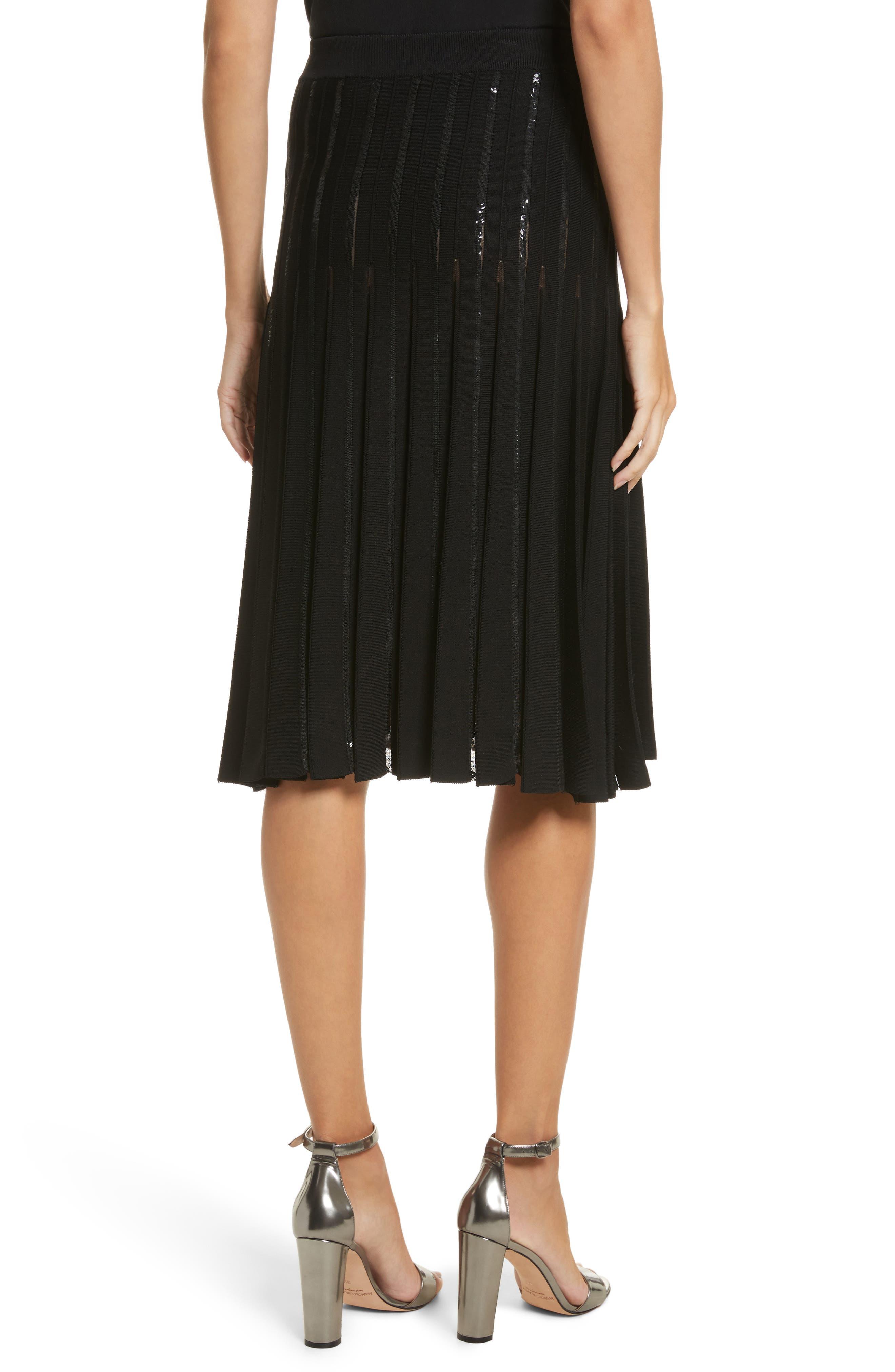 Pleated Sequin Flare Skirt,                             Alternate thumbnail 3, color,                             Black