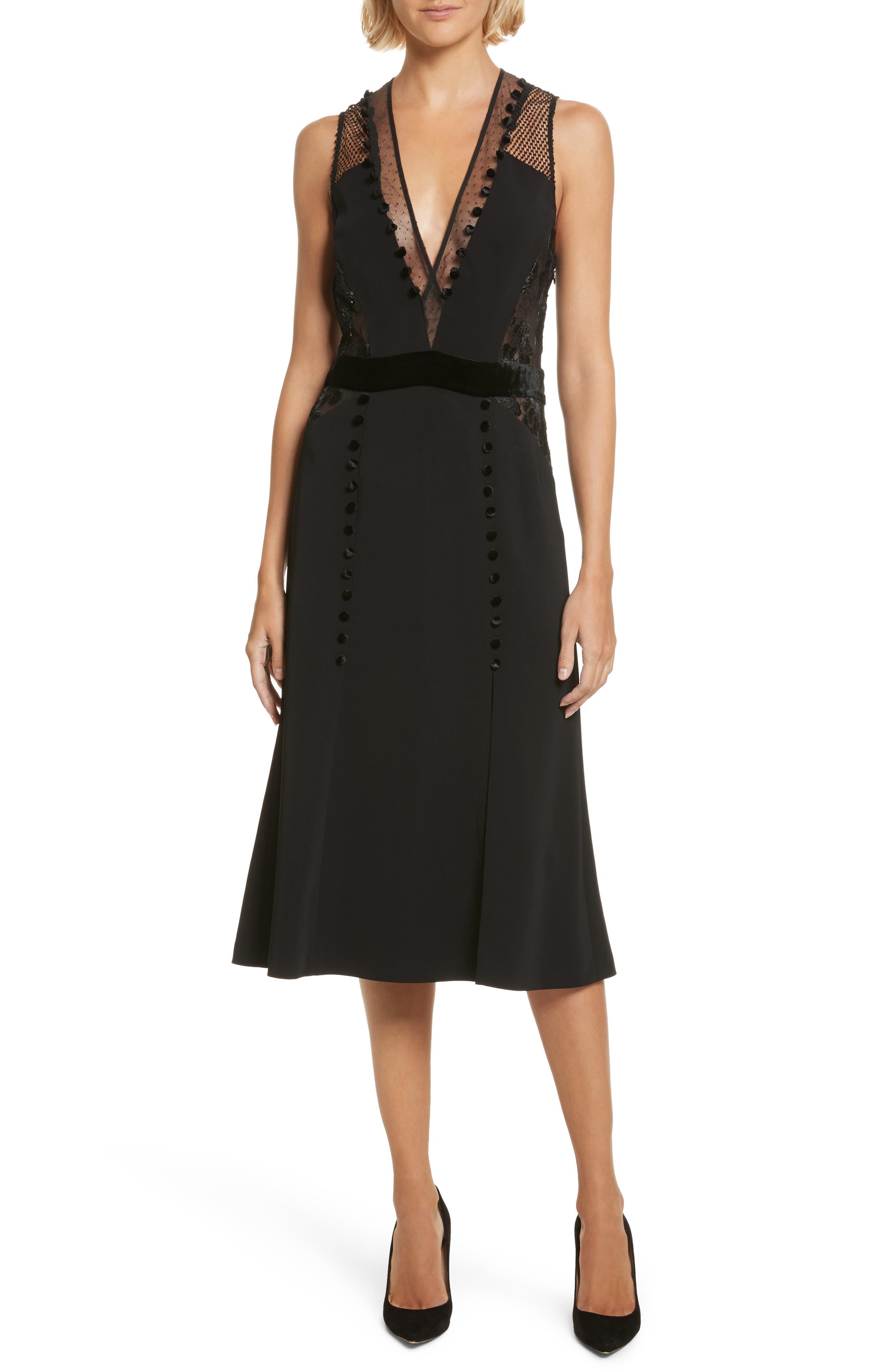 Harlow Velvet Button Dress,                             Main thumbnail 1, color,                             Black