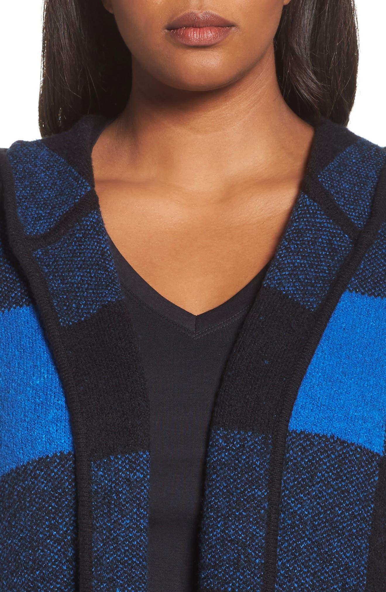 Plaid Hooded Sweater Coatigan,                             Alternate thumbnail 4, color,                             Blue Checkerboard Jacquard