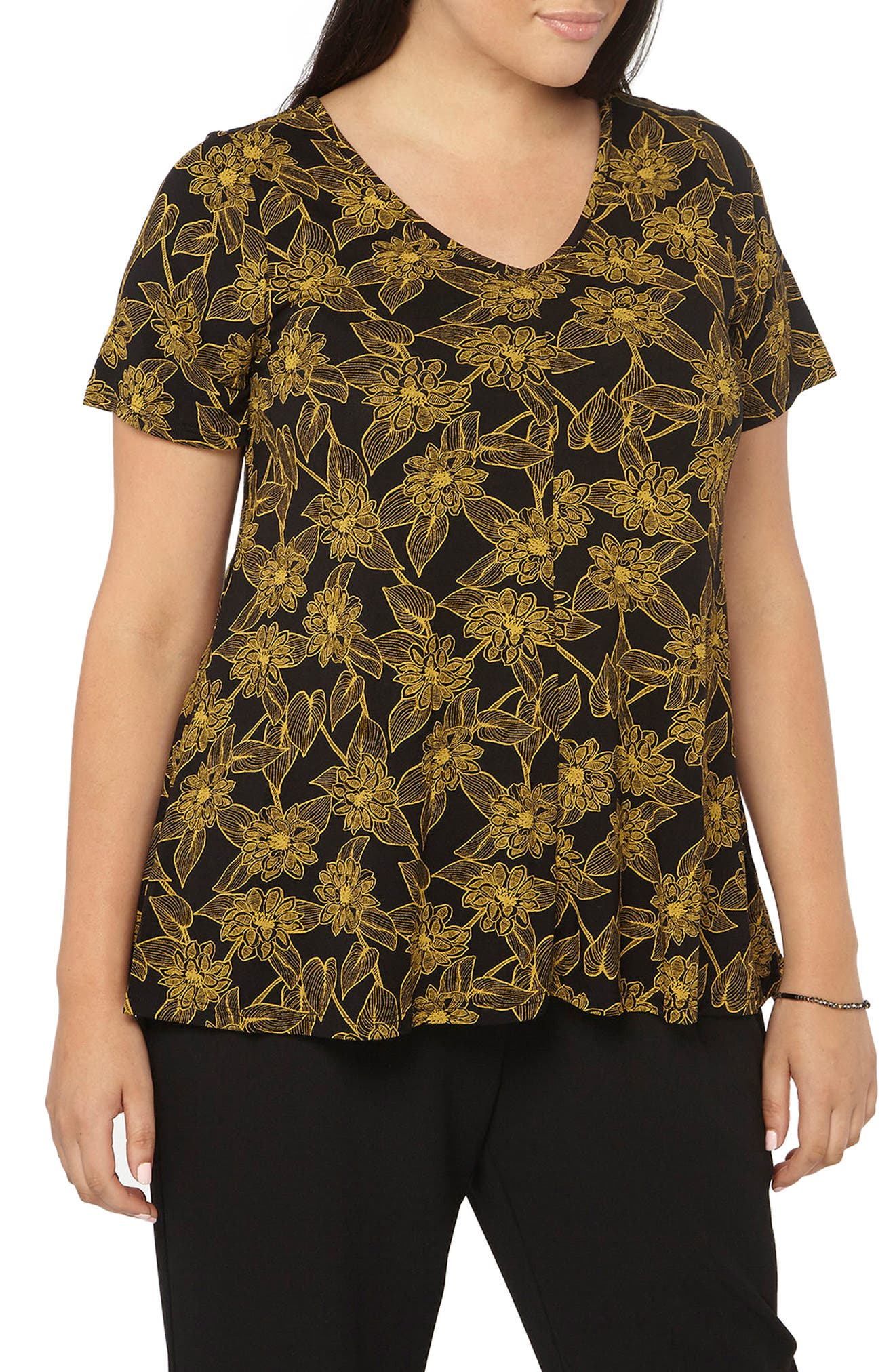 Floral Print Top,                         Main,                         color, Yellow