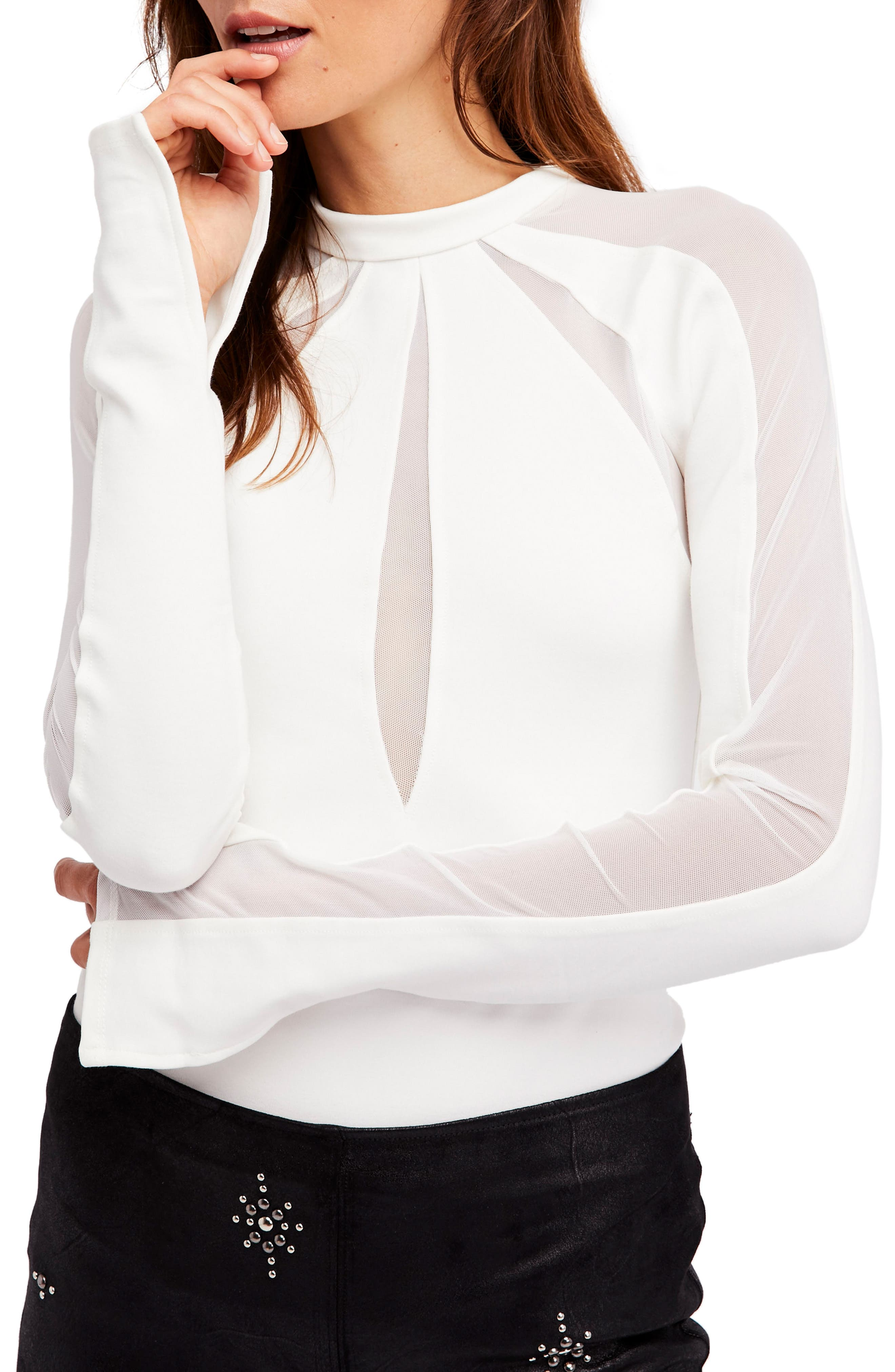 Monarch Mesh Inset Top,                         Main,                         color, Ivory