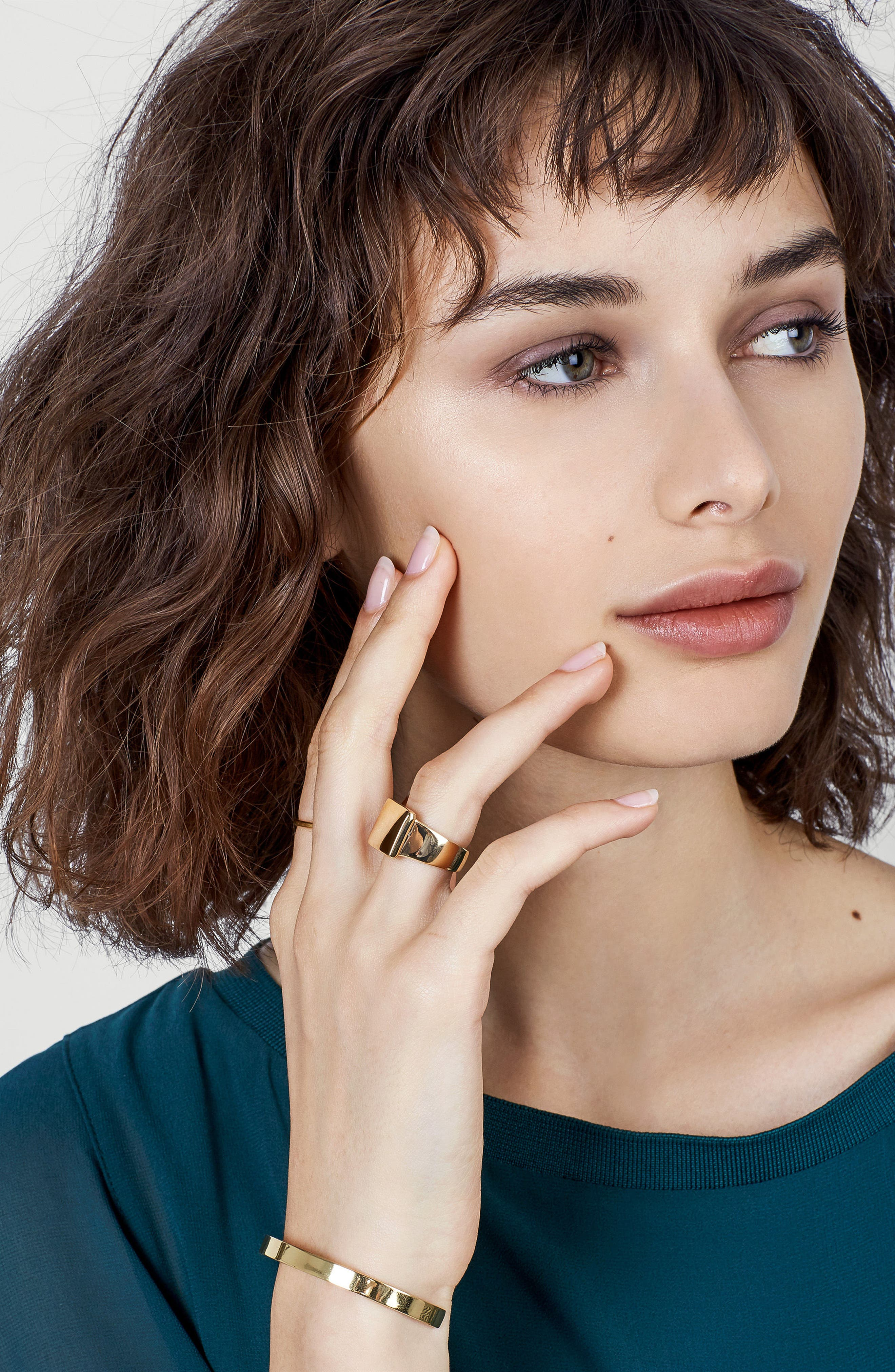 Square Statement Ring,                             Alternate thumbnail 2, color,                             Gold