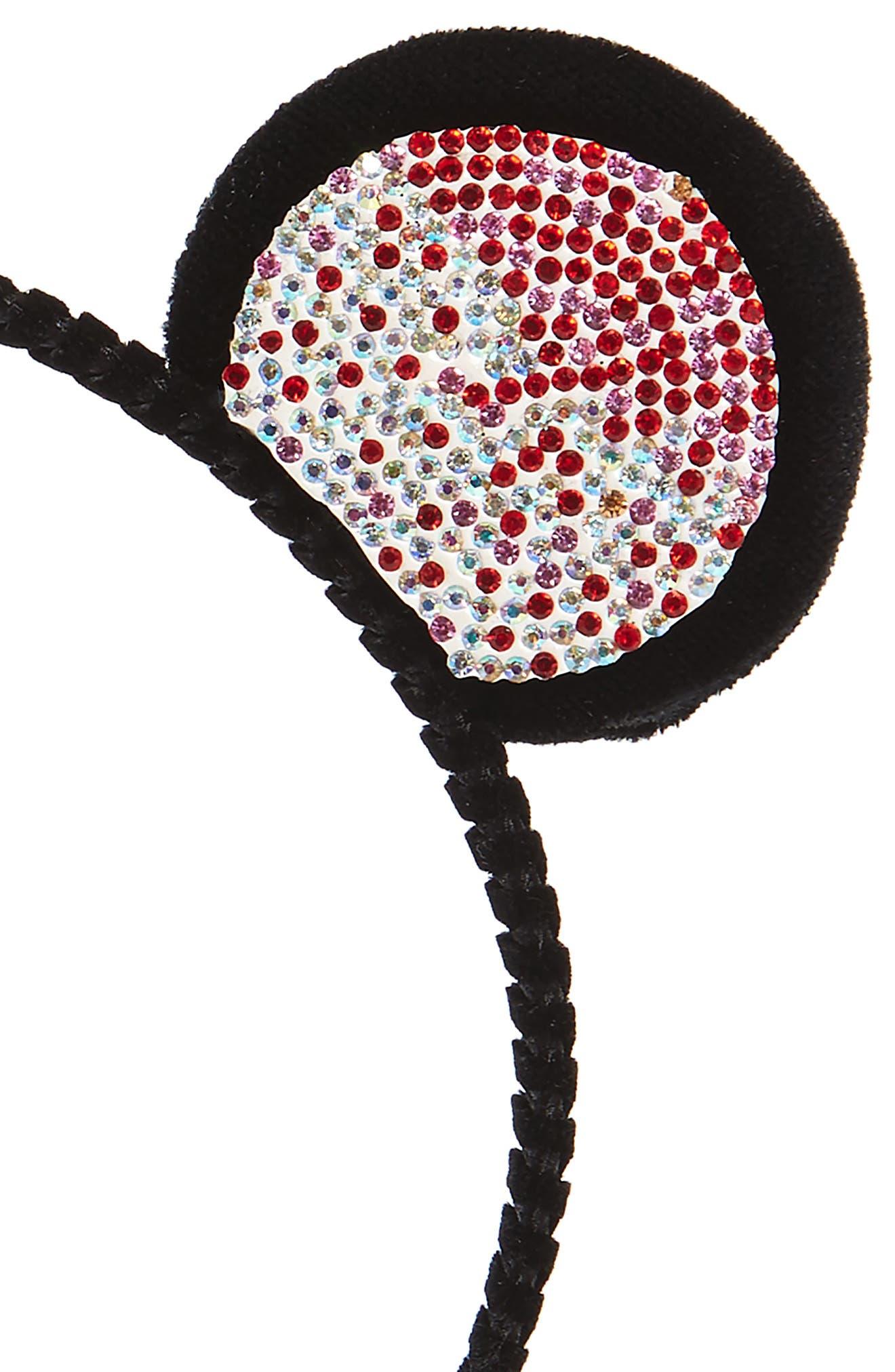 Crystal Bear Ear Headband,                             Alternate thumbnail 2, color,                             Black