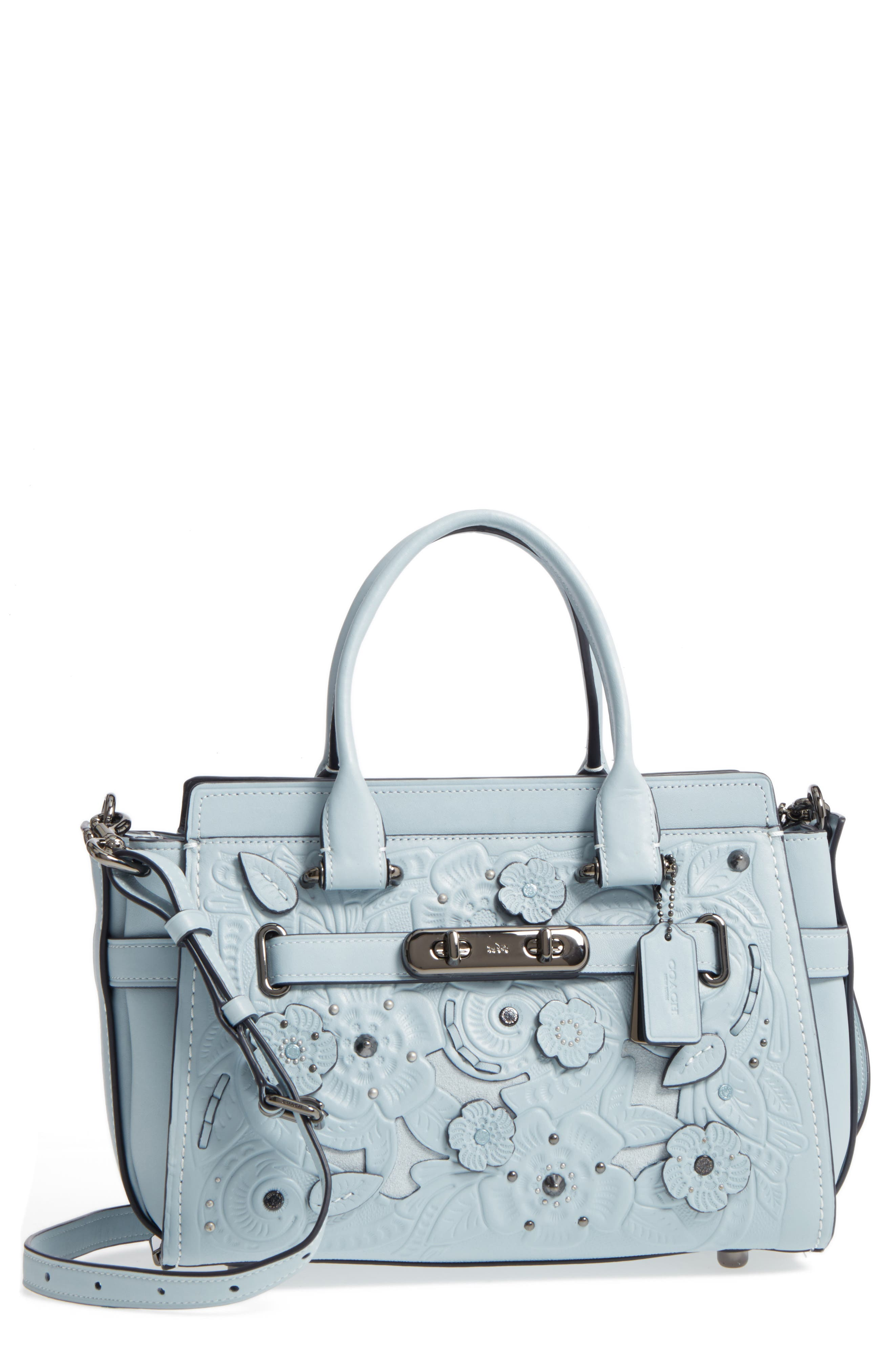 Main Image - COACH Tea Rose Swagger 27 Calfskin Leather Satchel