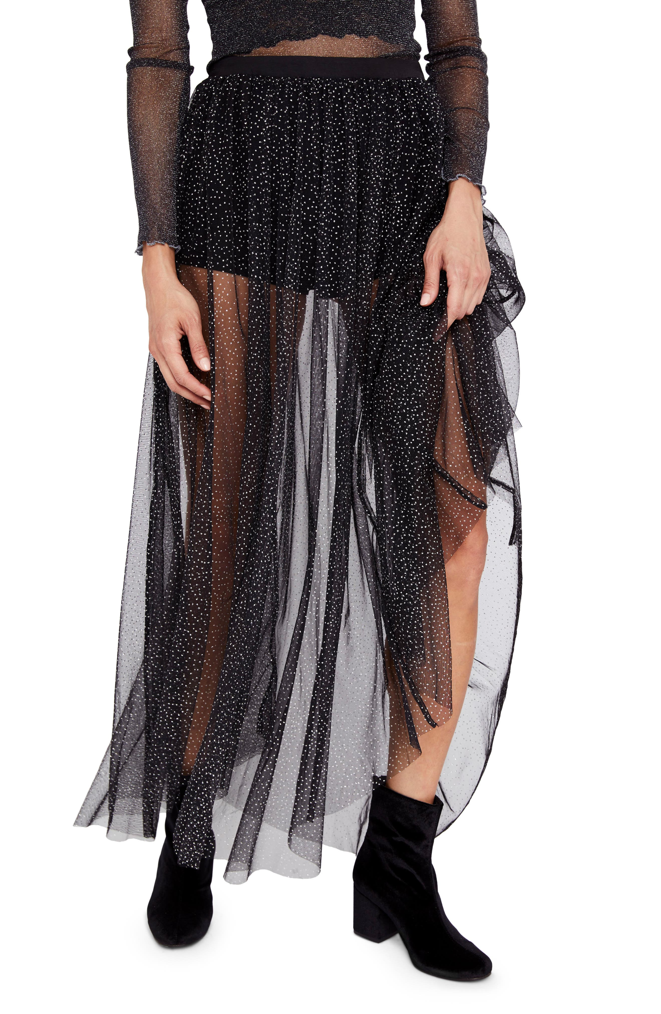 Free People Brightest Star Sheer Maxi Skirt
