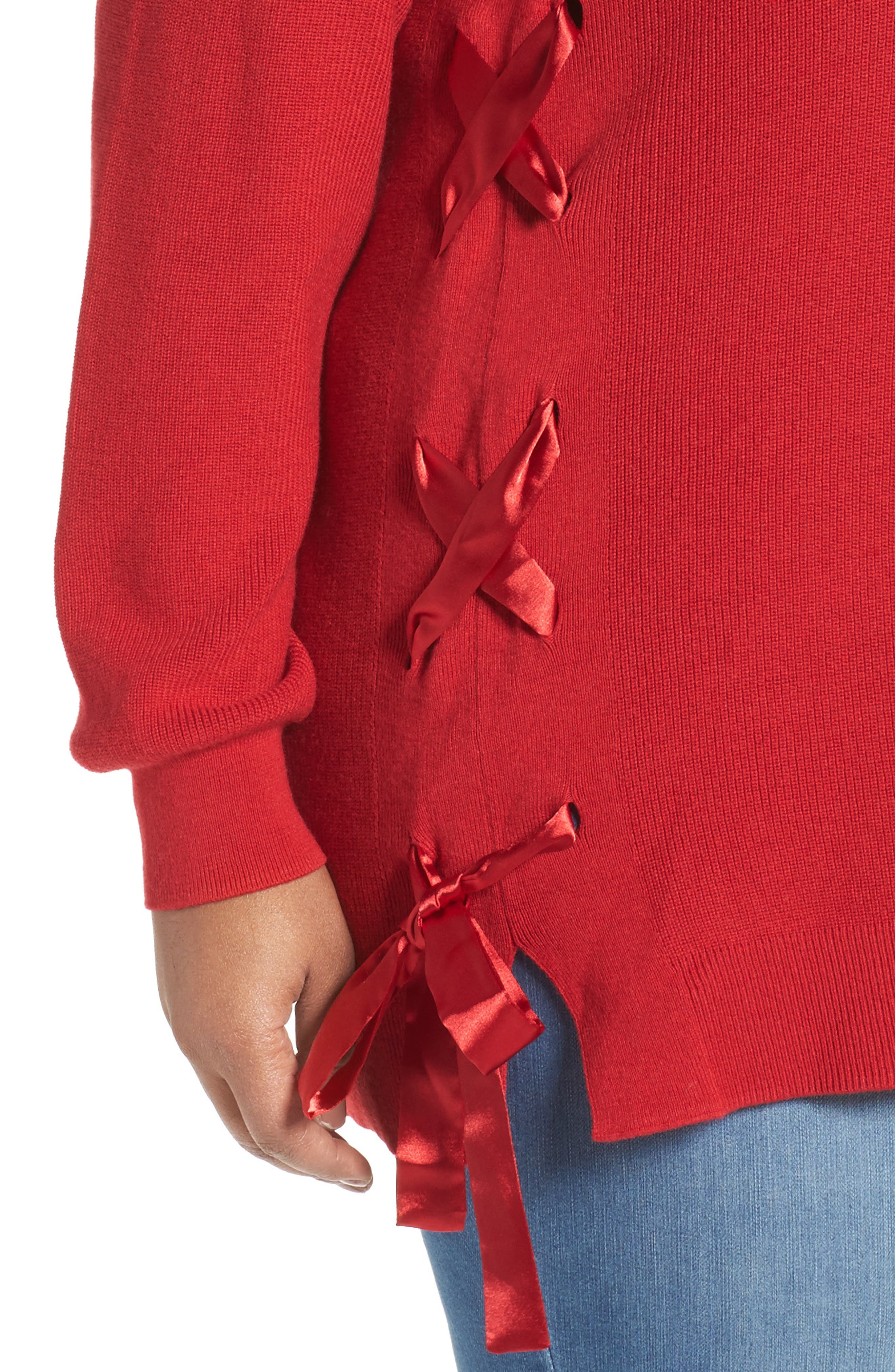 Lace-Up Pullover,                             Alternate thumbnail 4, color,                             Red Sage