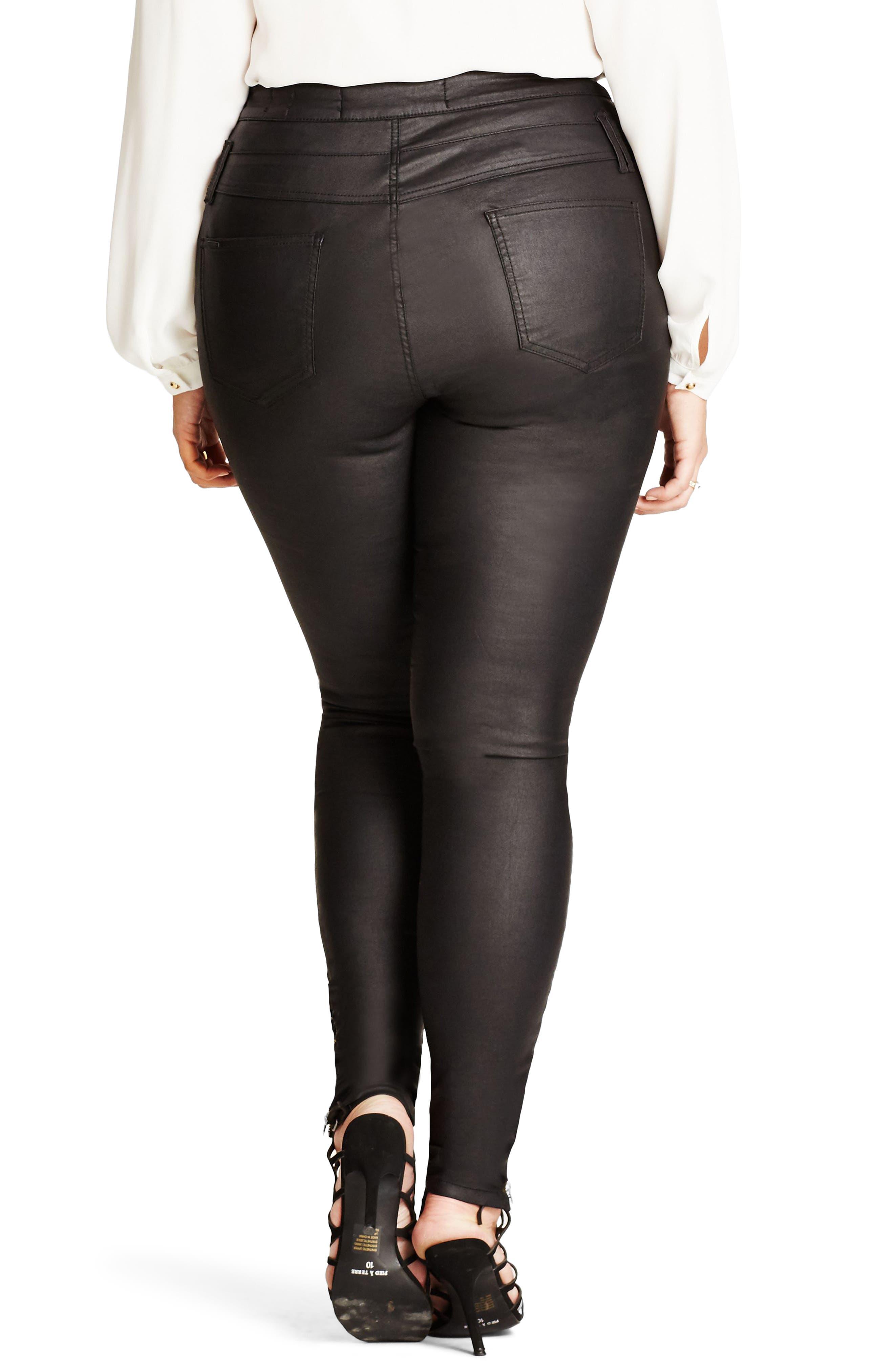 Skylar Coated Corset Skinny Jeans,                             Alternate thumbnail 2, color,                             Black