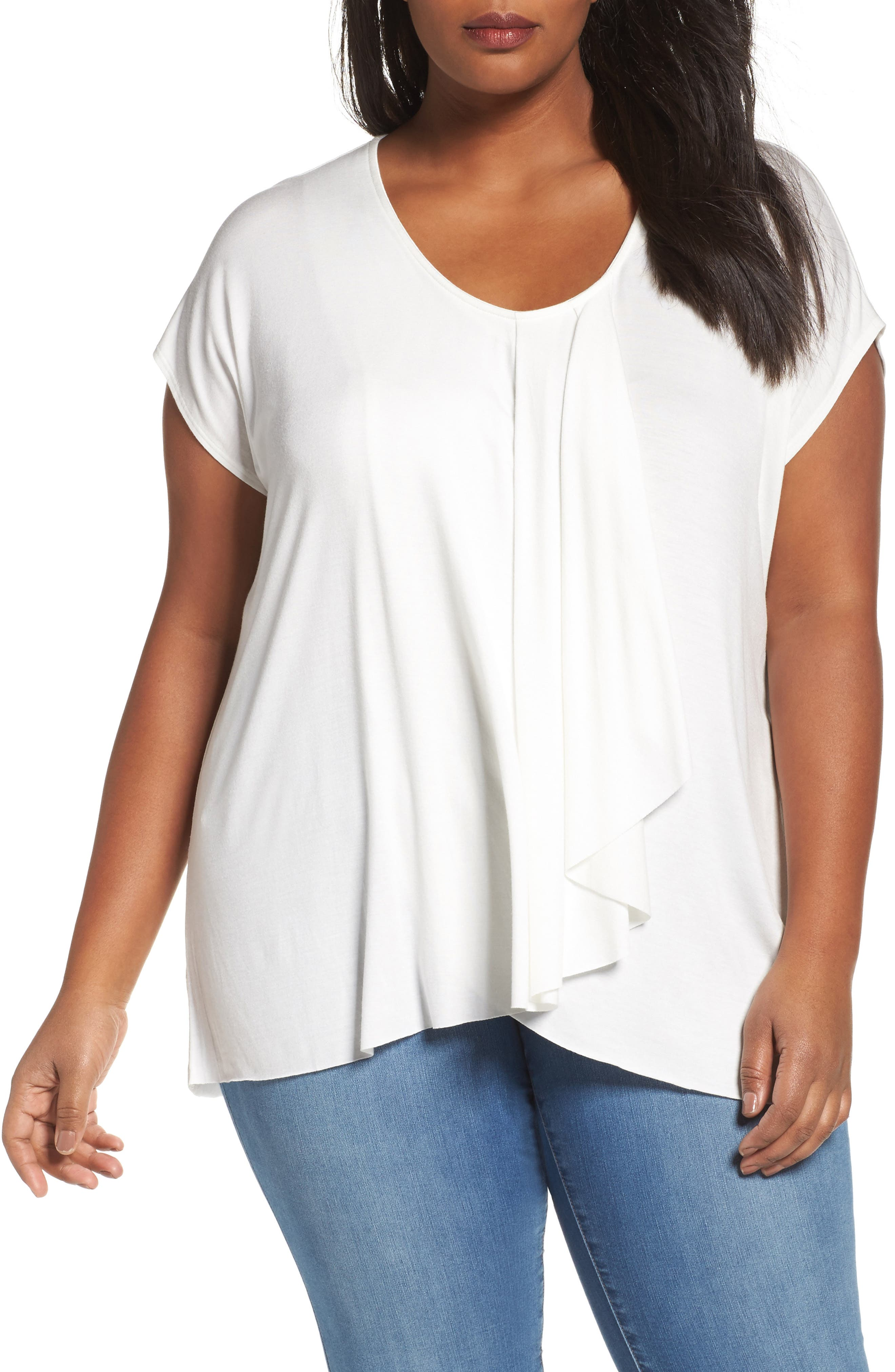 Pleat Front Tee,                         Main,                         color, Ivory Cloud