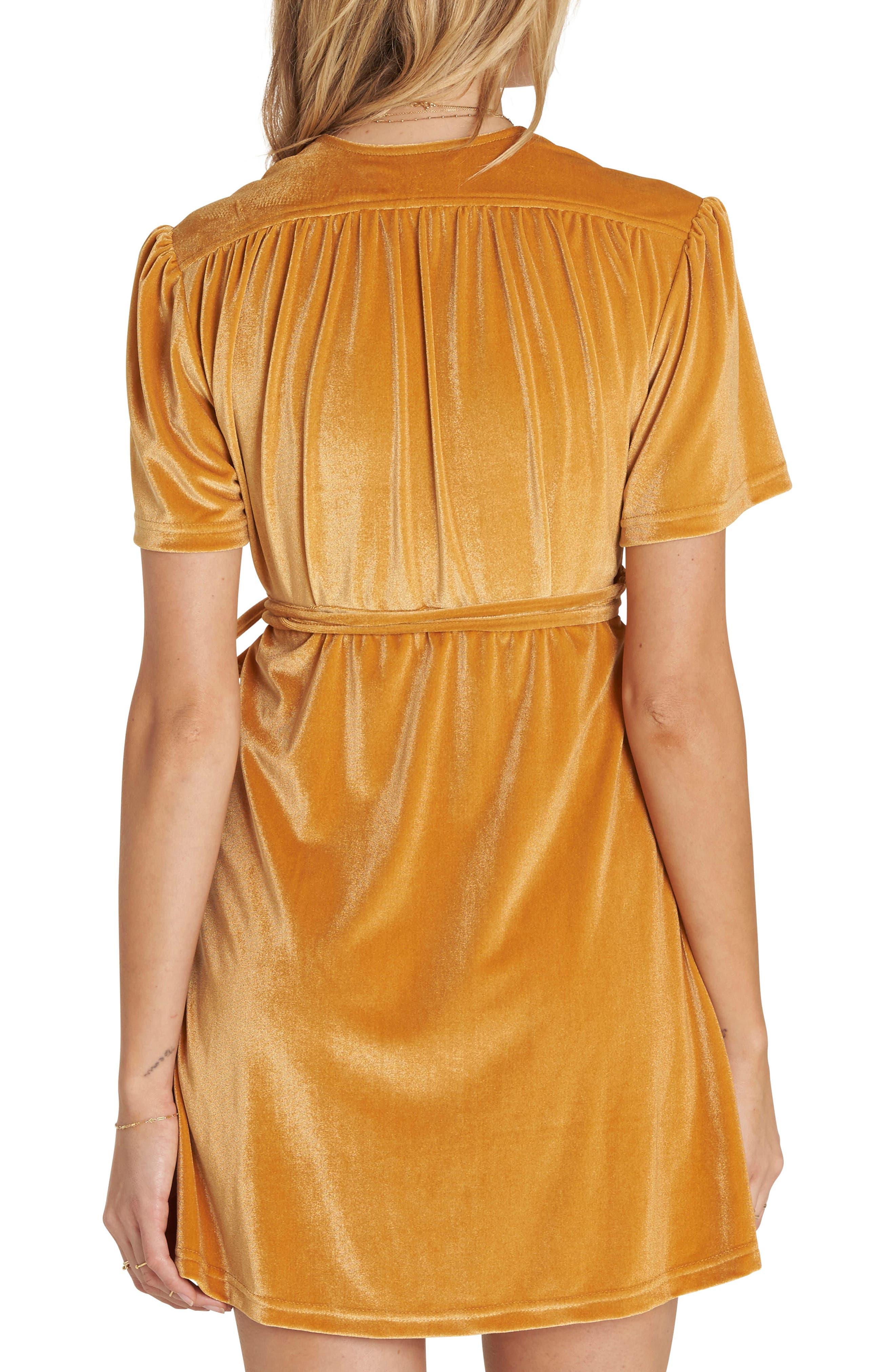 Velvet Dress,                             Alternate thumbnail 2, color,                             Honey Gold