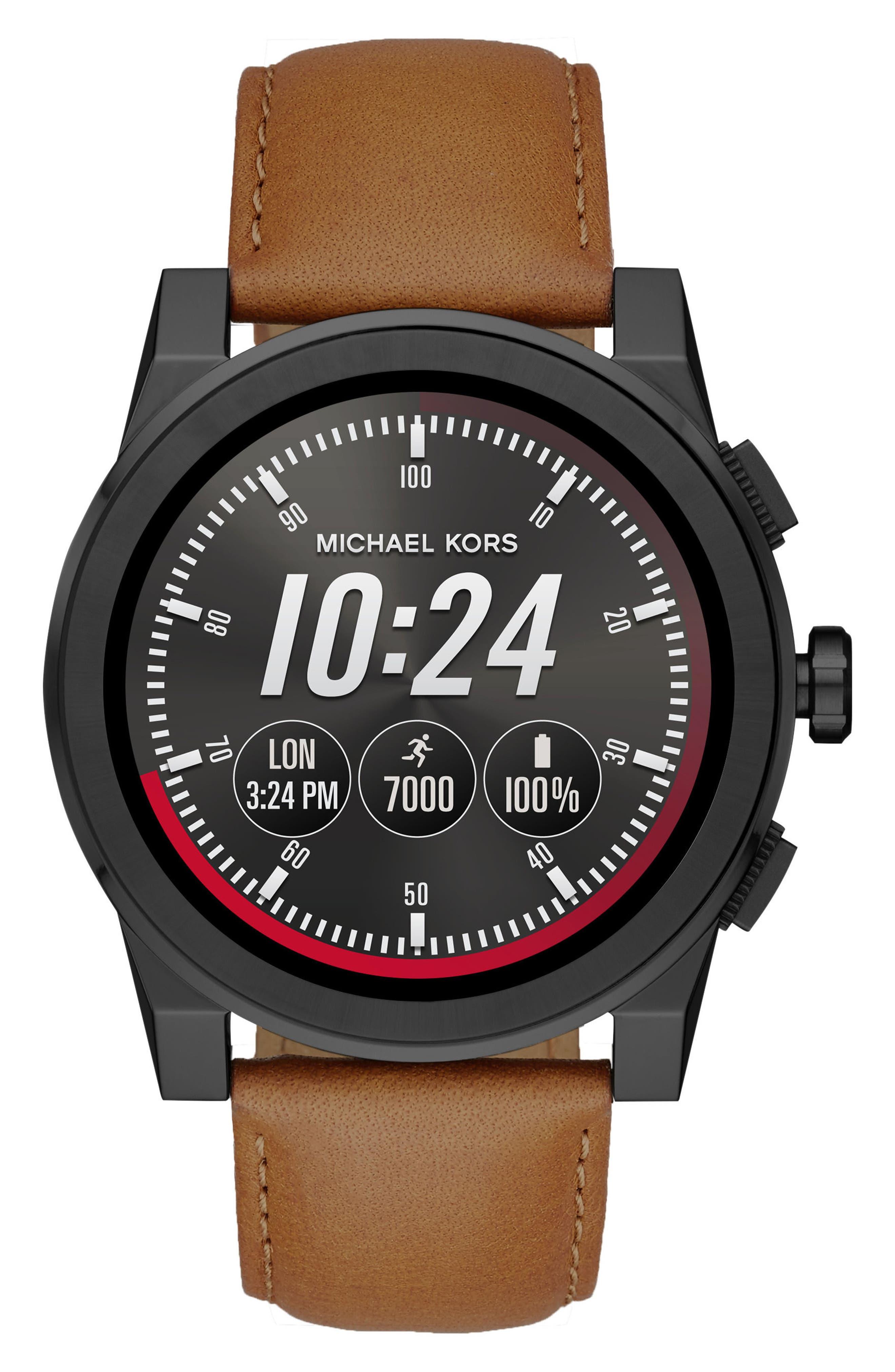 Alternate Image 2  - Michael Kors Access Grayson 24mm Leather Watch Strap