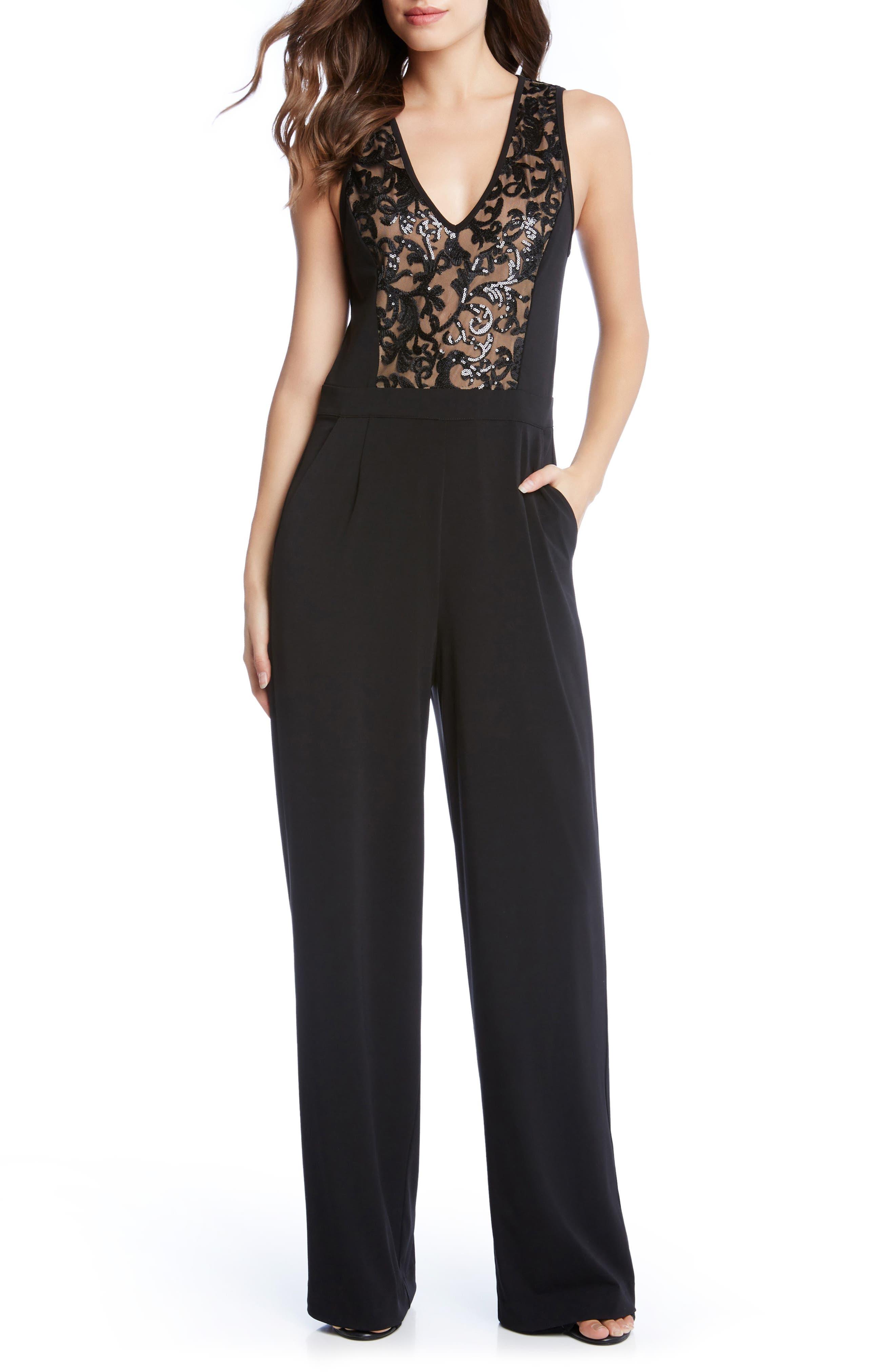 Sequin Inset Jumpsuit,                             Main thumbnail 1, color,                             Black