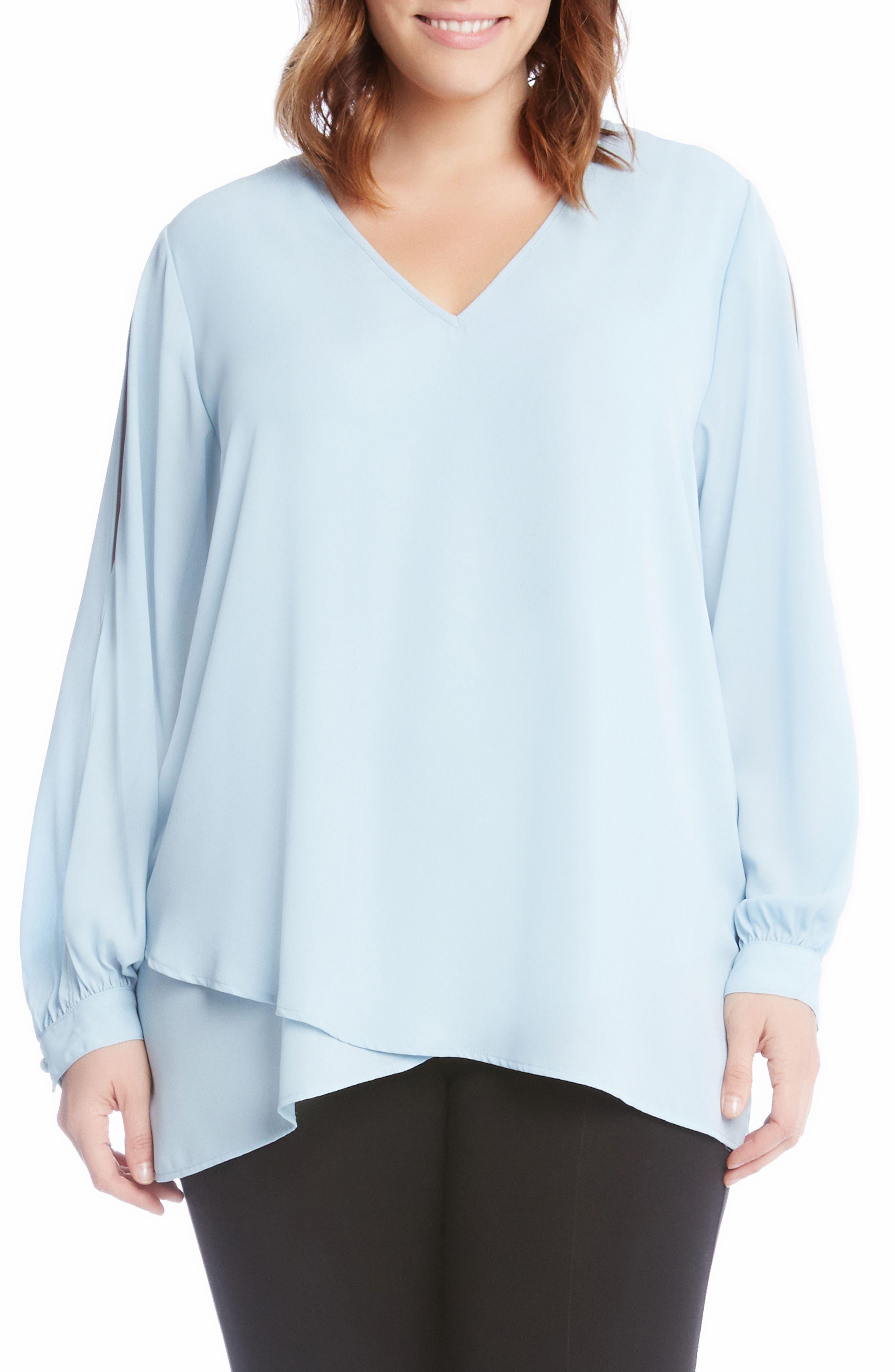 Slit Sleeve Asymmetrical Faux Wrap Top,                         Main,                         color, Blue
